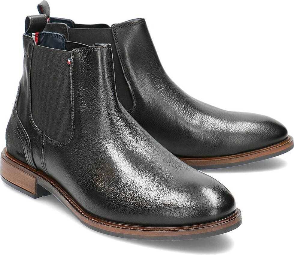 Tommy Hilfiger Elevated Leather Mix Chelsea Czarny