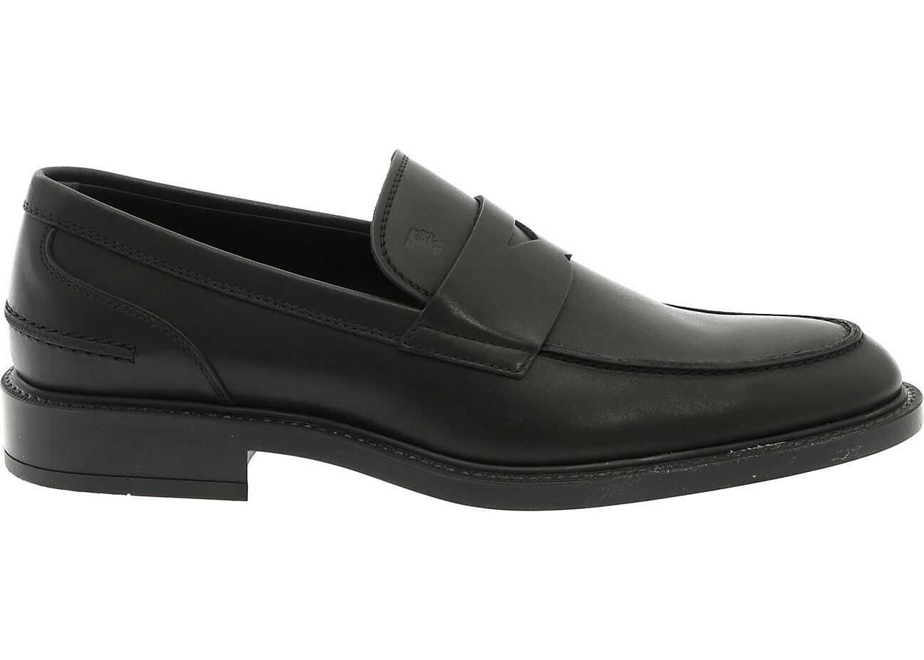 TOD'S Loafers In Black Leather With Penny Bar Black