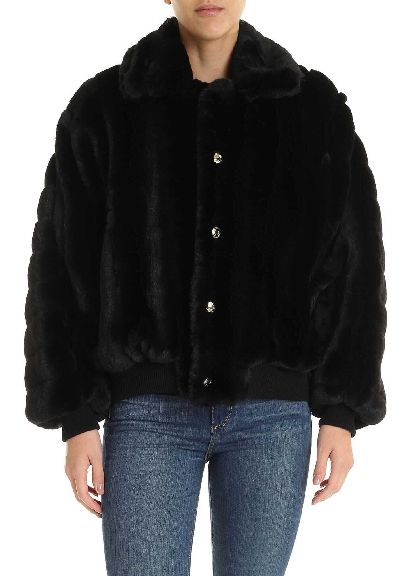 GCDS Black Lined Eco-Fur Black