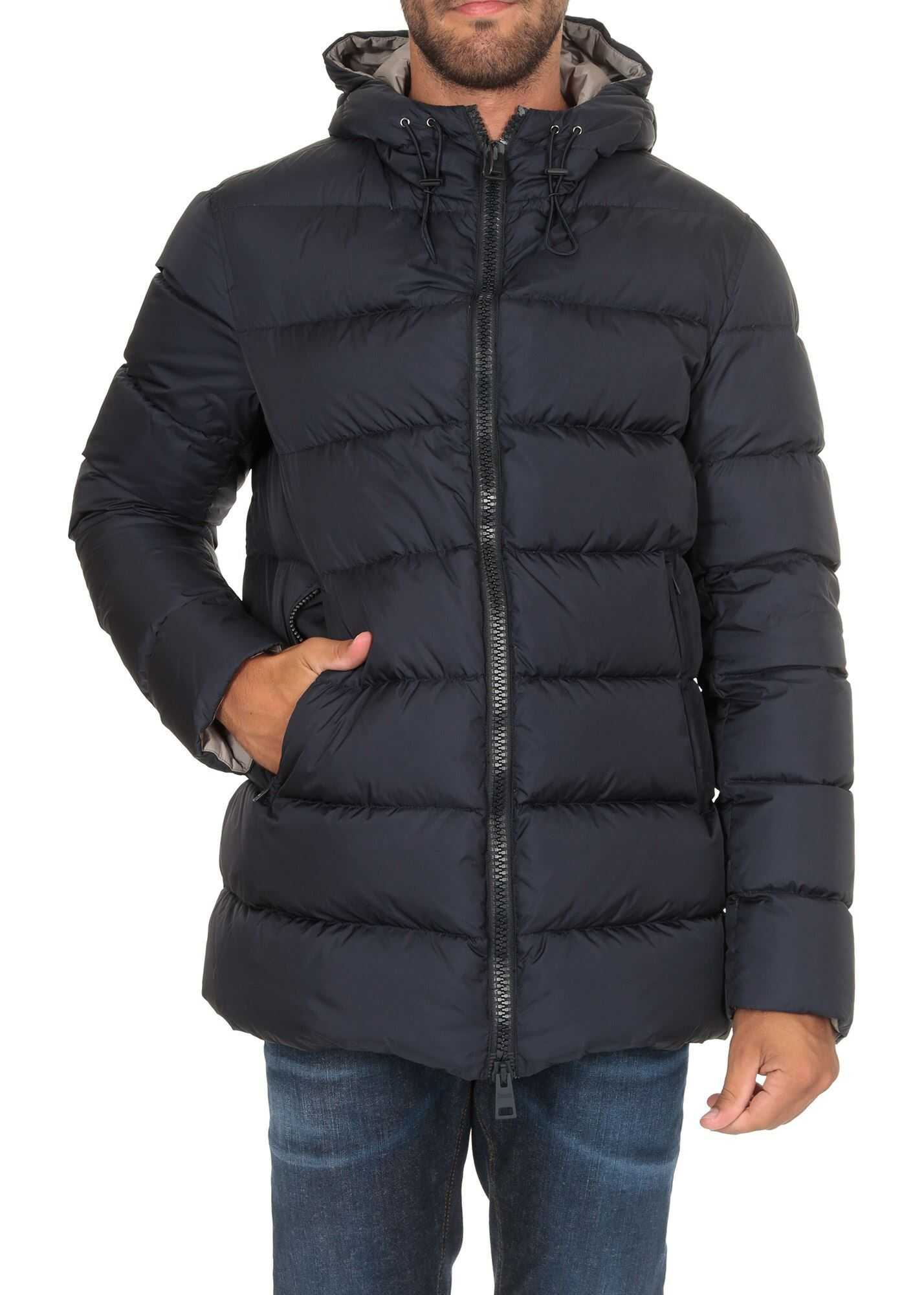 Herno Hooded Down Jacket In Blue Blue