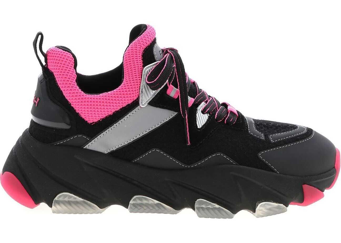 ASH Energy Sneakers In Black And Neon Pink Black