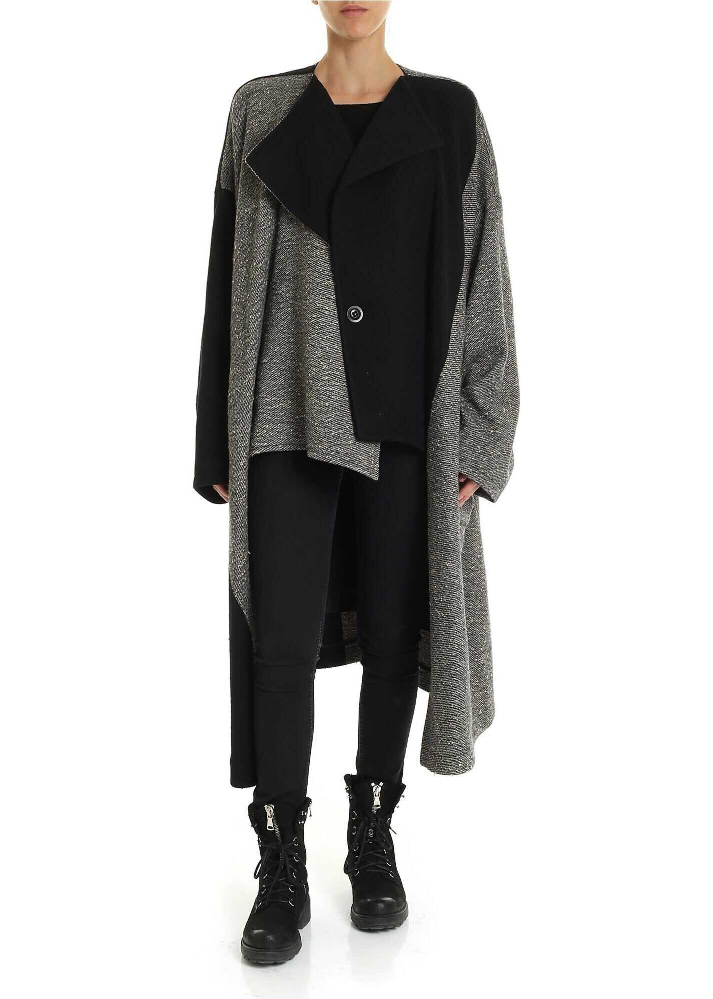 Black And Ivory Coat In Bouclé Fabric thumbnail
