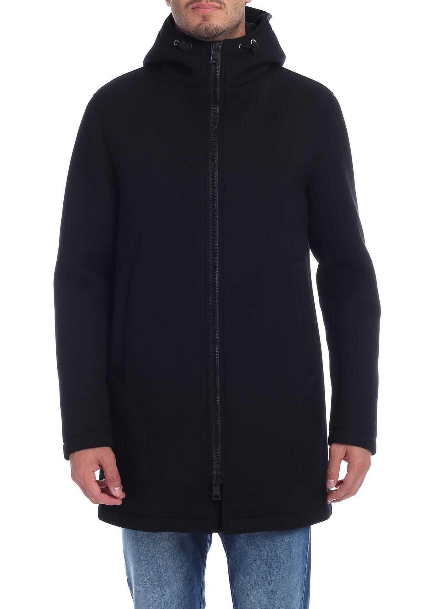 Herno Black Coat In Diagonal Fabric Black imagine
