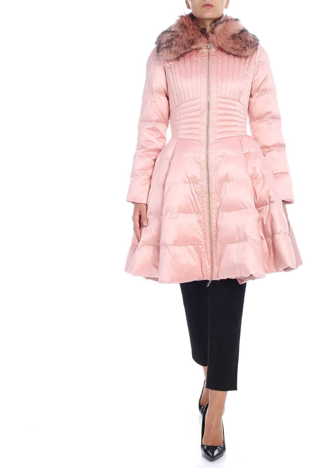 Elisabetta Franchi Pink Flared Down Jacket With Eco-Fur Insert Pink