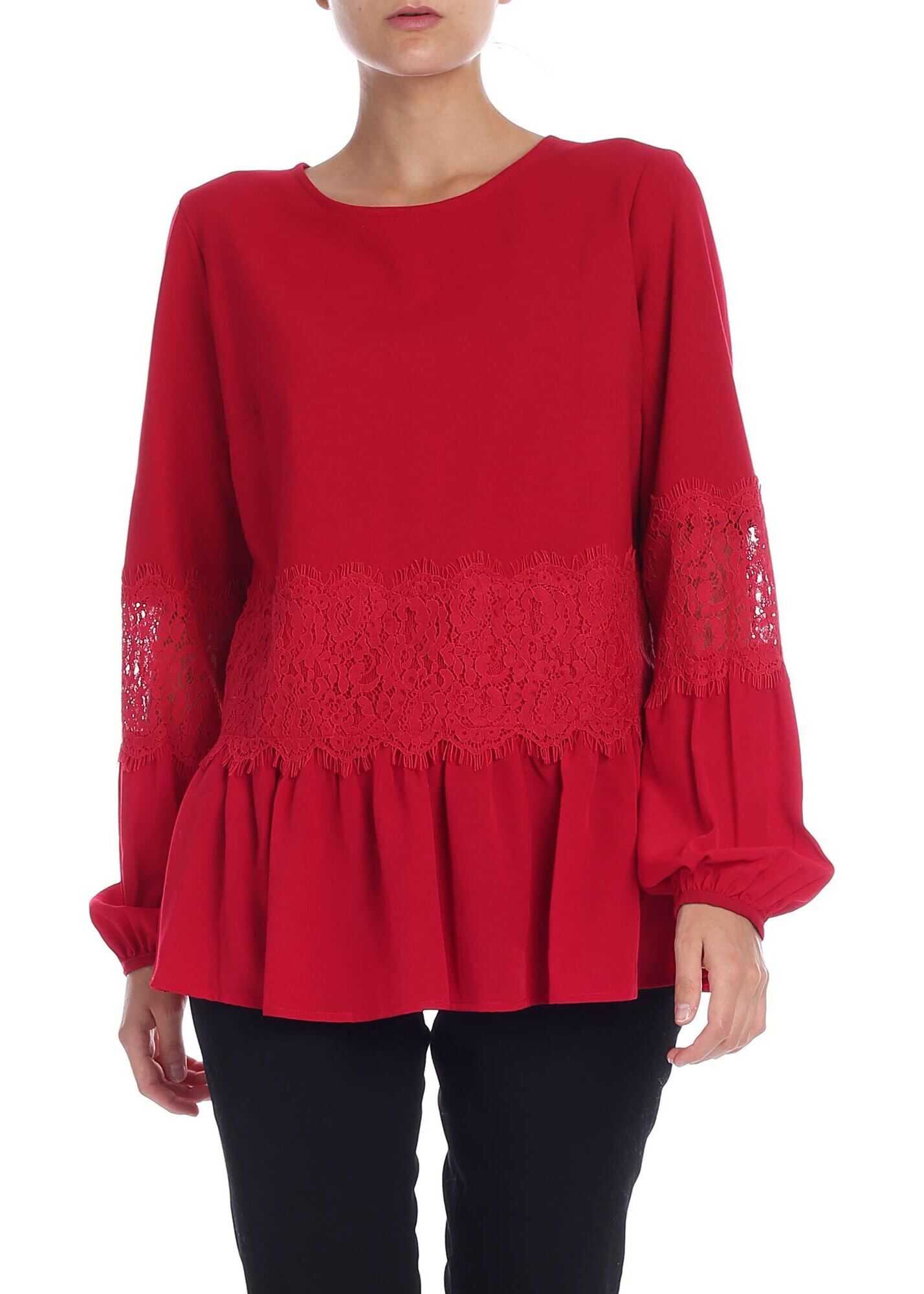 Red Blouse With Lace Details thumbnail