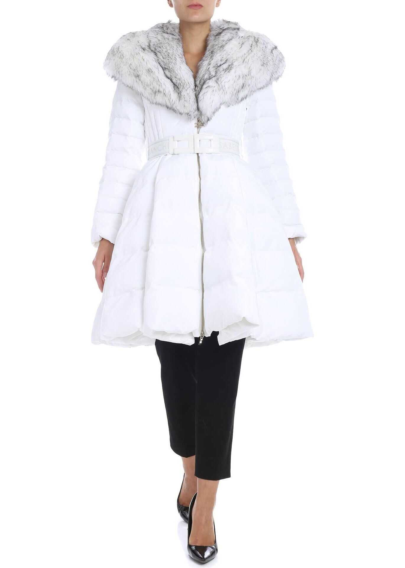 Elisabetta Franchi White Flared Down Jacket With Eco-Fur Insert White