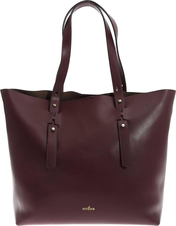 Hogan Wine-Colored Shoulder Bag With Logo Details Red