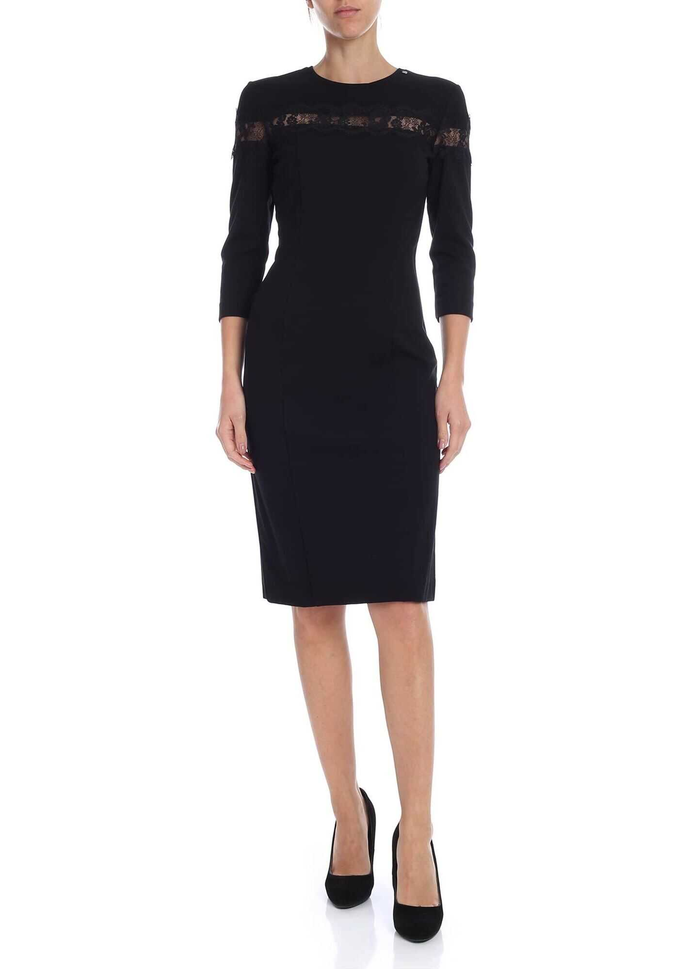 Black Crew Neck Pencil Dress With Lace thumbnail