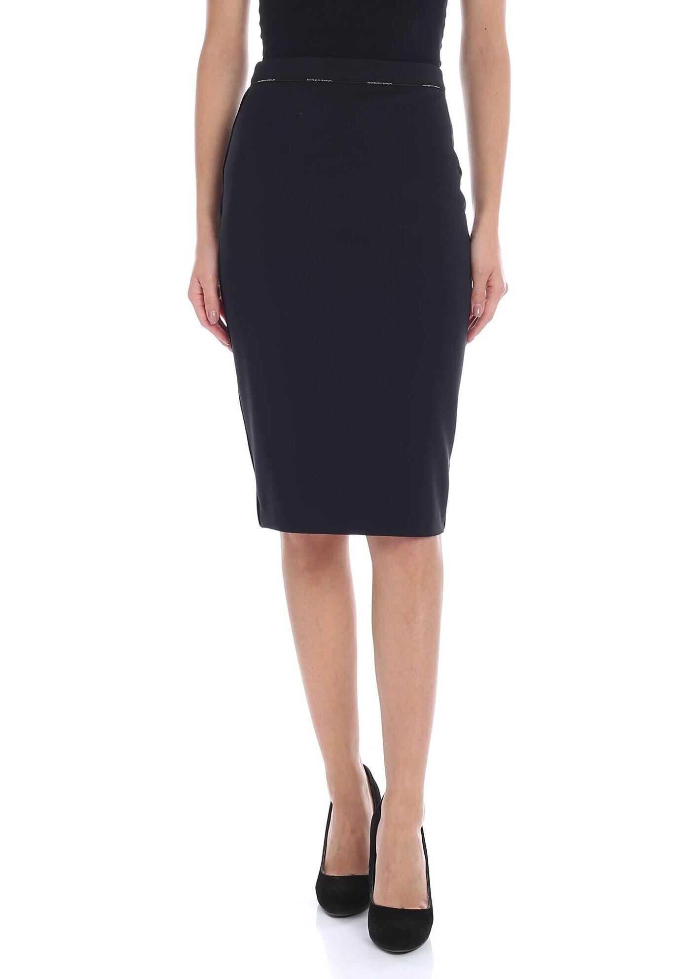 Elisabetta Franchi Black Pencil Skirt With Logo Black