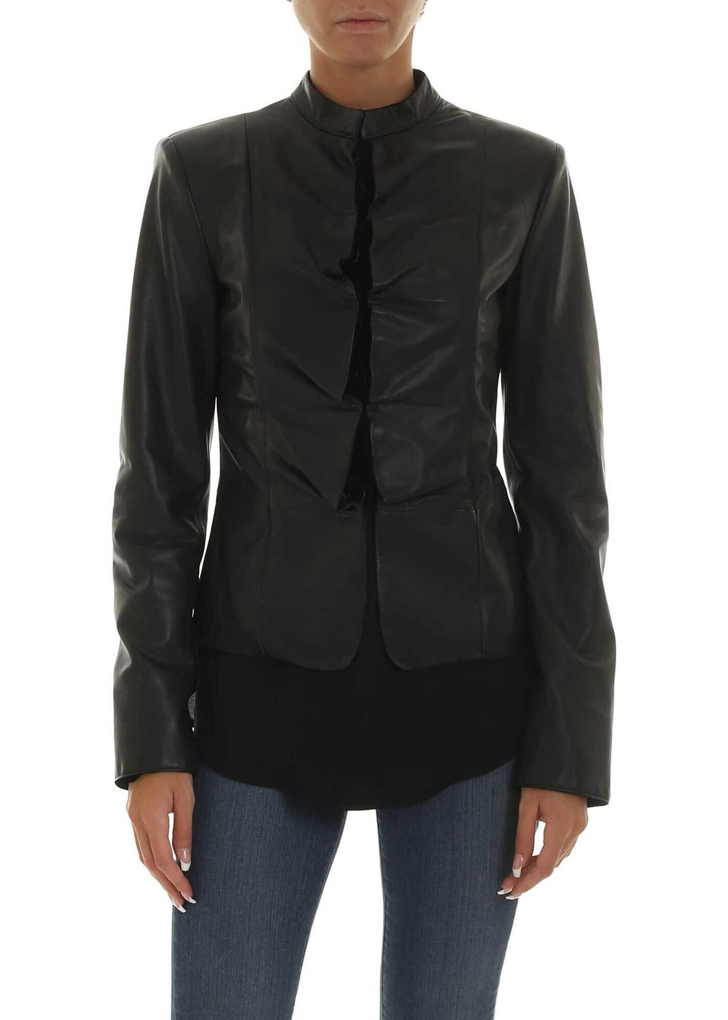 Emporio Armani Leather Outerwear Jacket BLACK