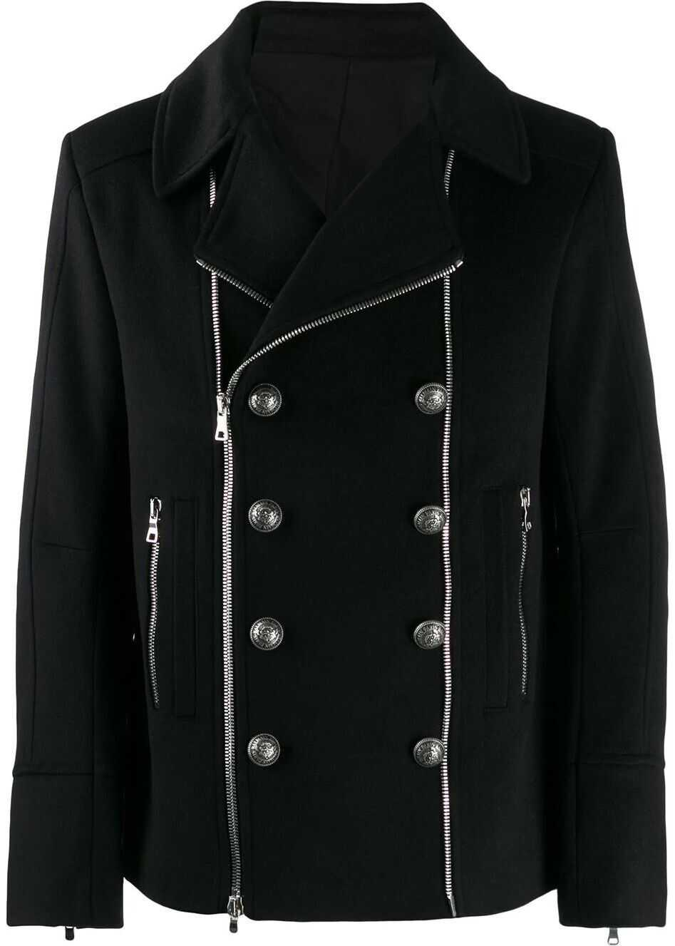 Balmain Wool Coat BLACK