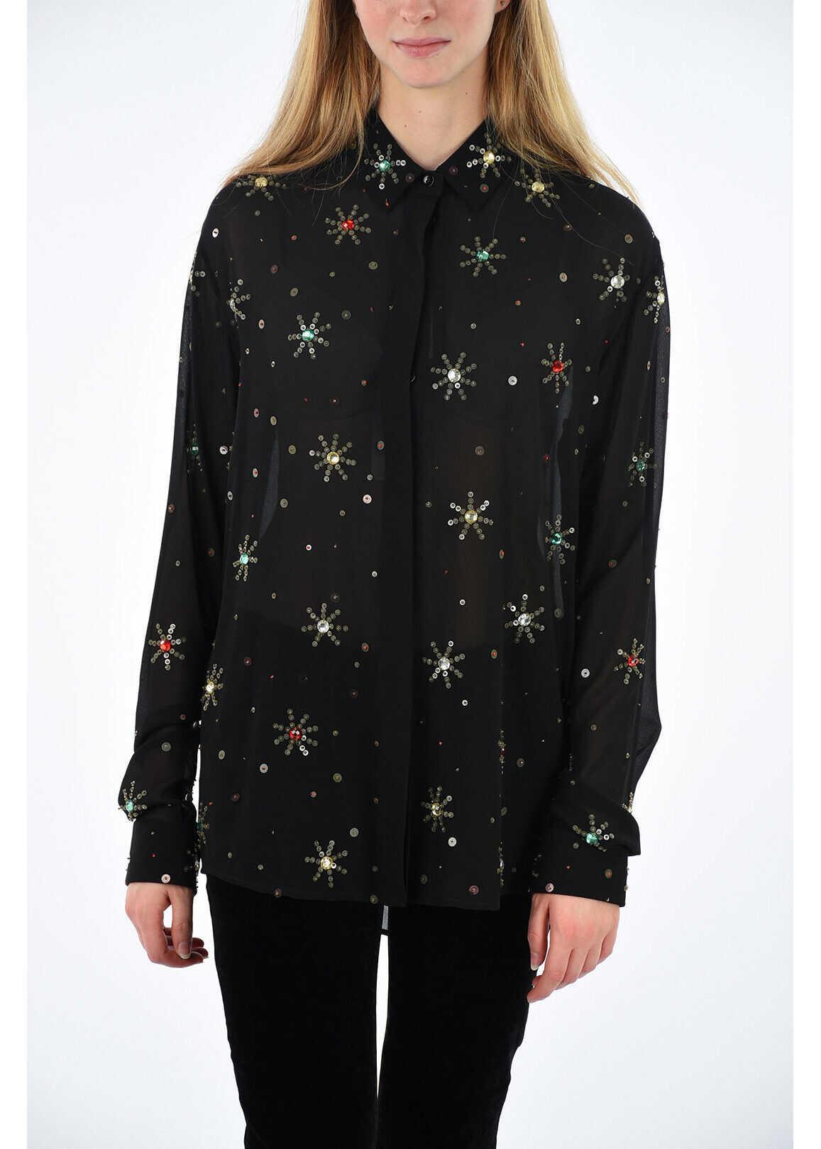 Saint Laurent silk sequined blouse BLACK