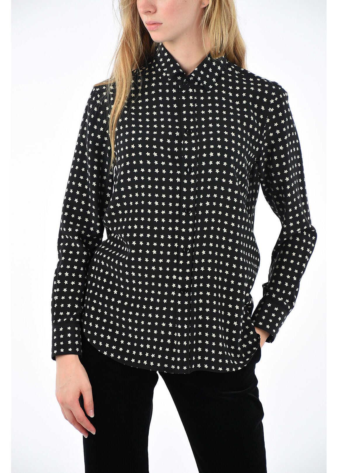 Saint Laurent two-tone silk blouse BLACK