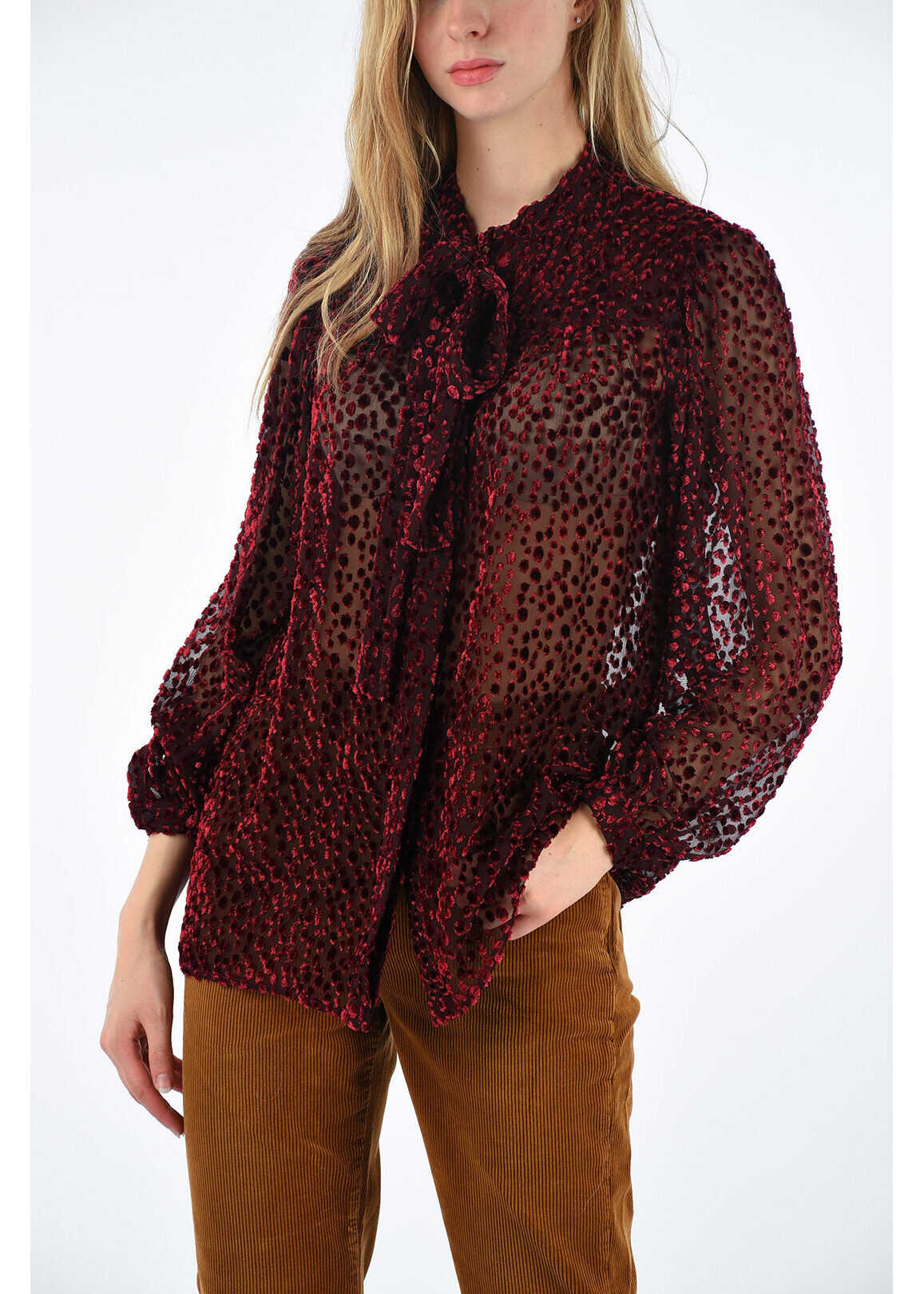 Saint Laurent polka dots embroidered blouse BURGUNDY