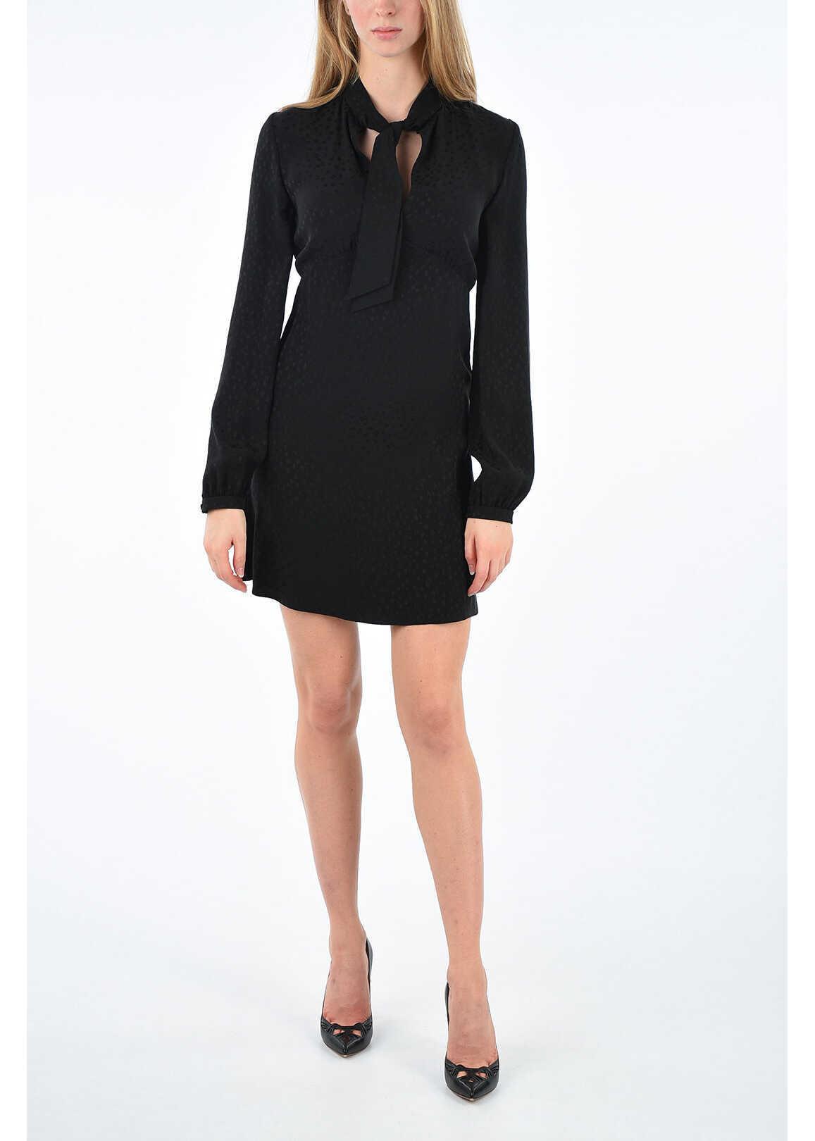 Saint Laurent silk flared dress BLACK
