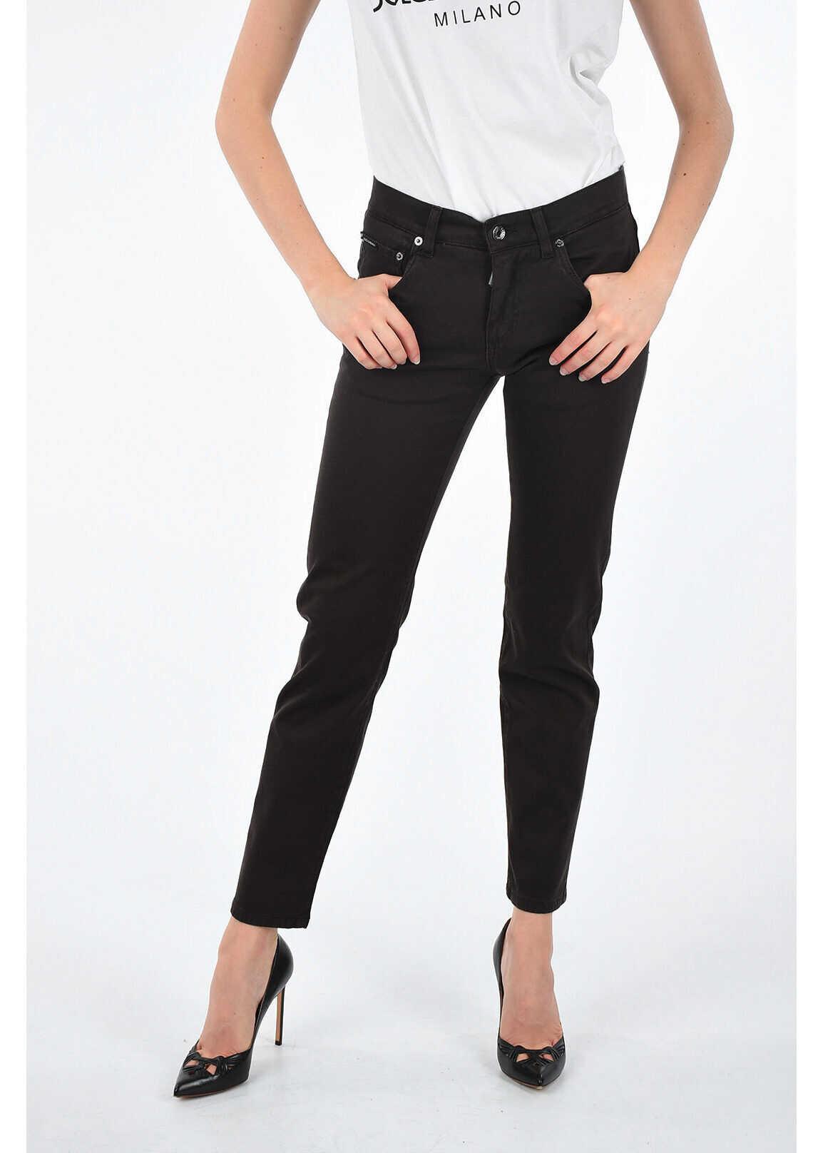 Dolce & Gabbana 15,5cm Denim Stretch GOLD Jeans BROWN