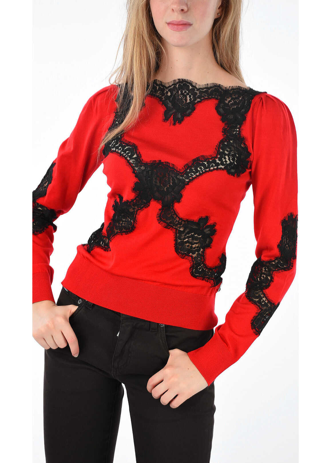 Dolce & Gabbana Light Laced Details Sweater RED