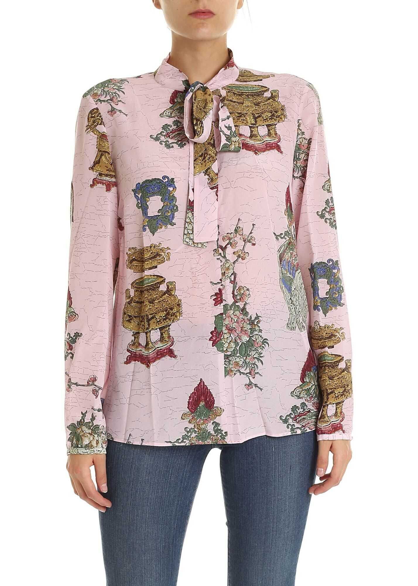 Pink Blouse With Chinese Lackey Print