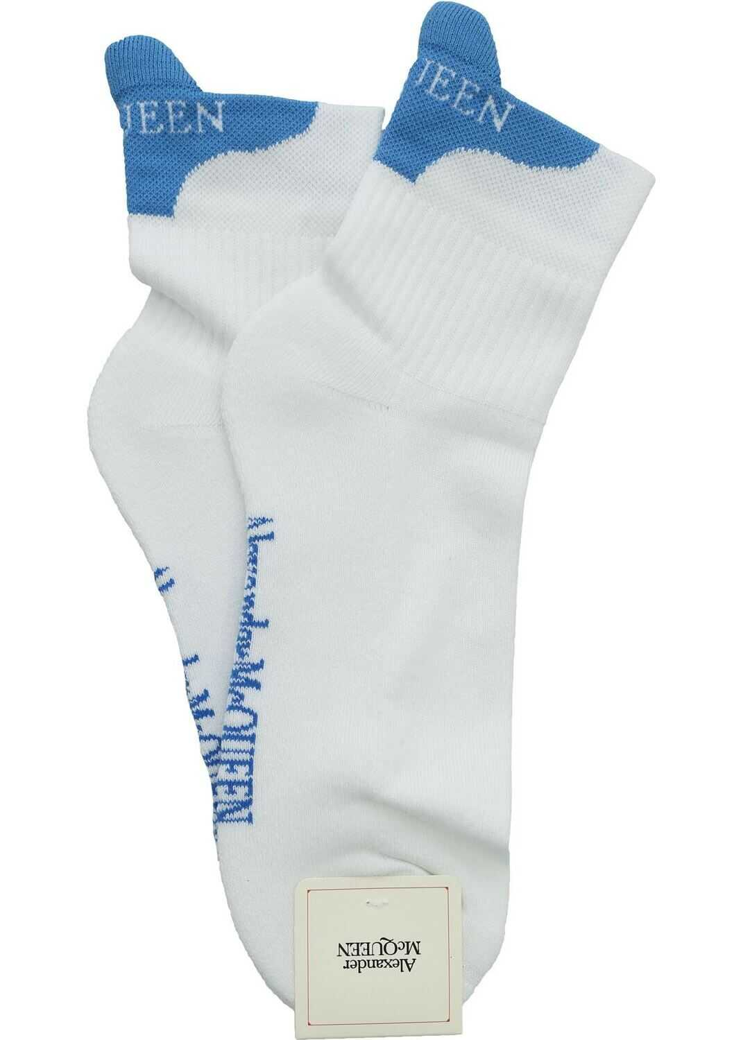 White And Light Blue Socks With Logo thumbnail