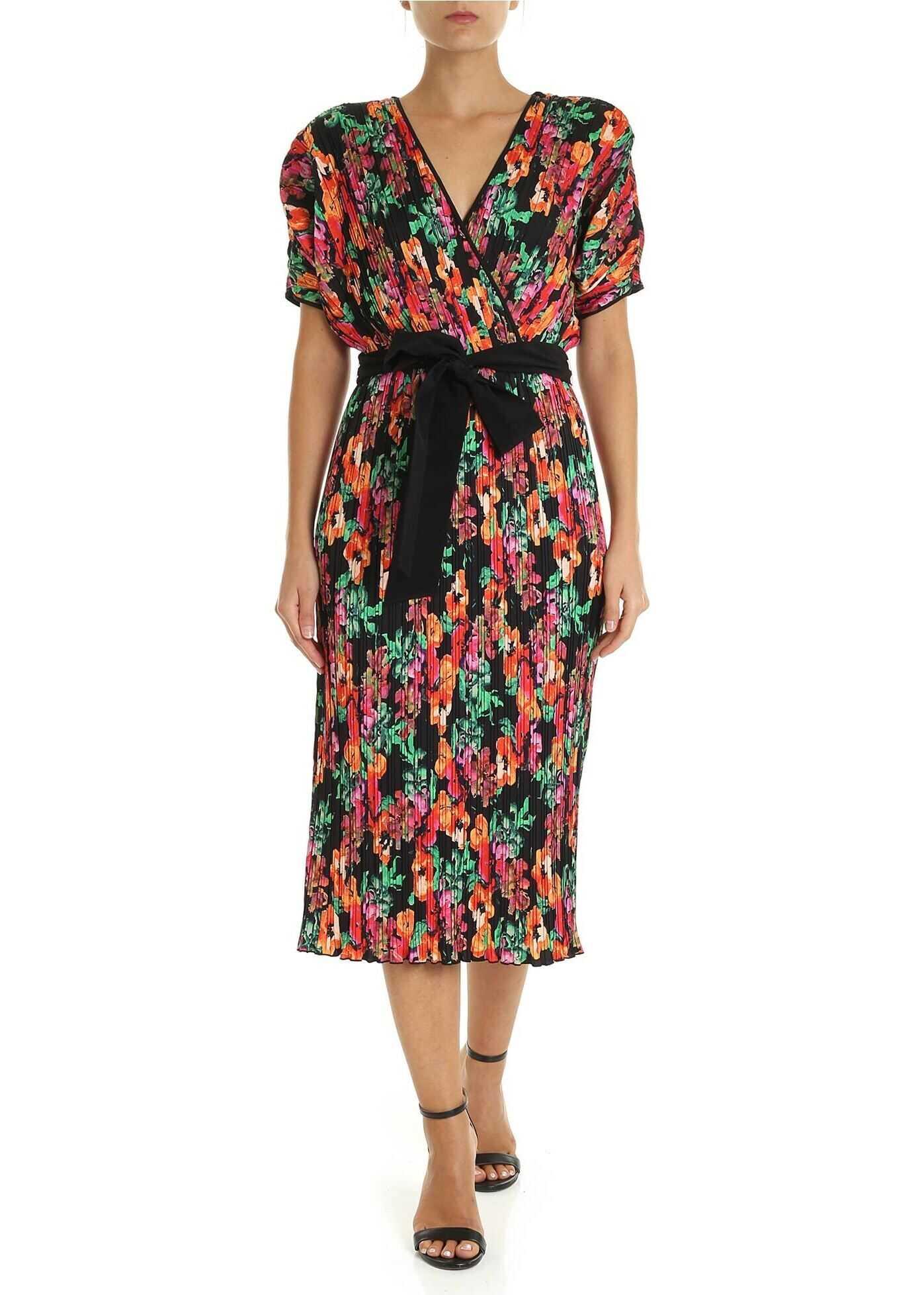 Diane von Furstenberg Autumn Floral Pleated Dress Multi