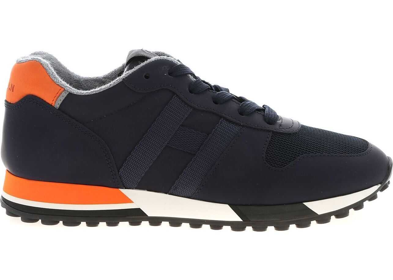 Hogan H383 Sneakers In Blue And Orange Blue