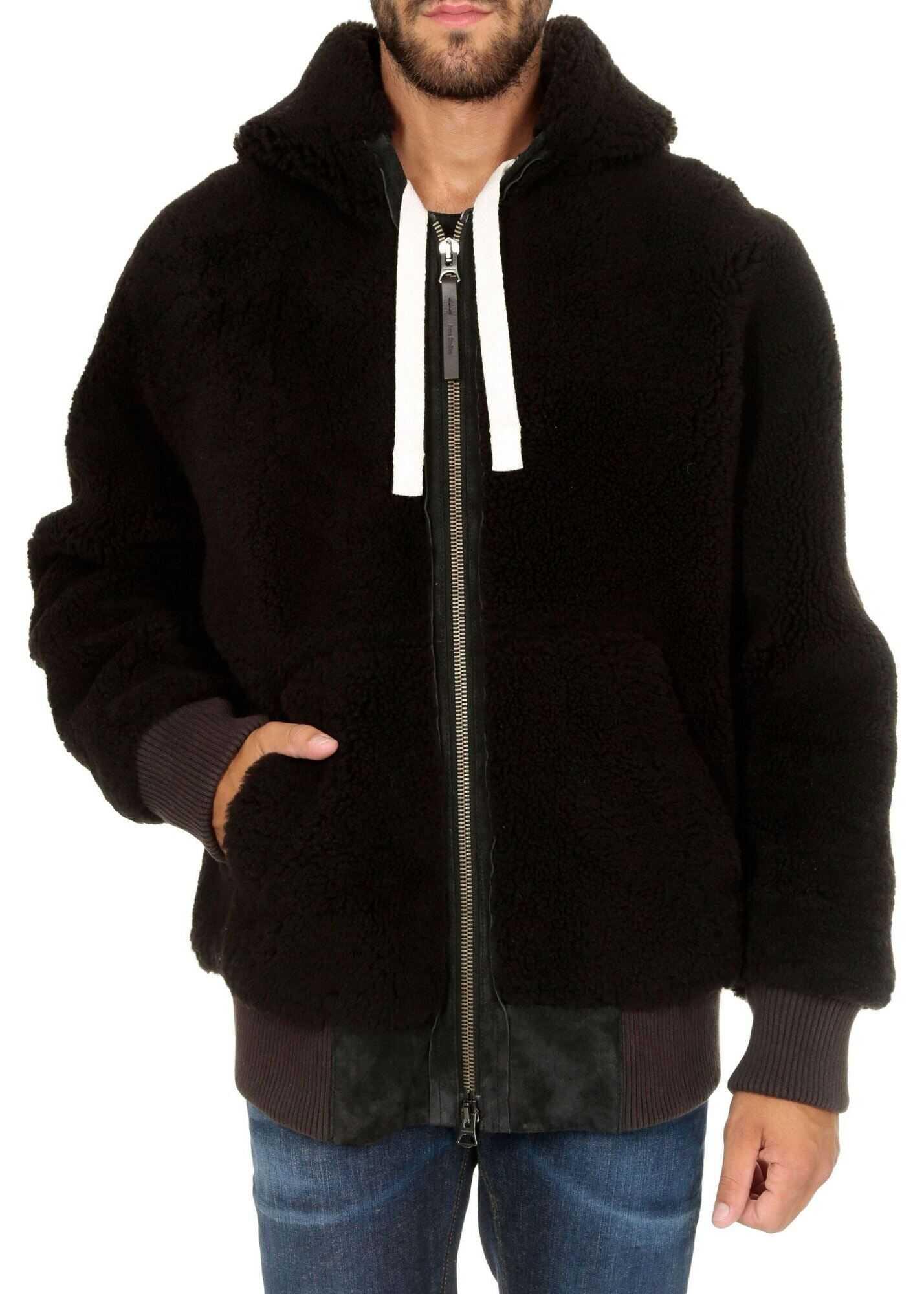 Acne Studios Hooded Shearling Jacket Chocolate Dark Brown Brown imagine