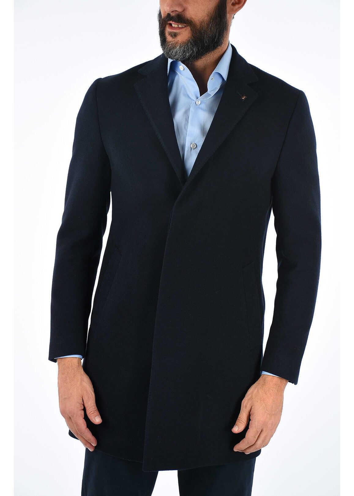 CORNELIANI CC COLLECTION twill chesterfield coat with hidden closure BLUE