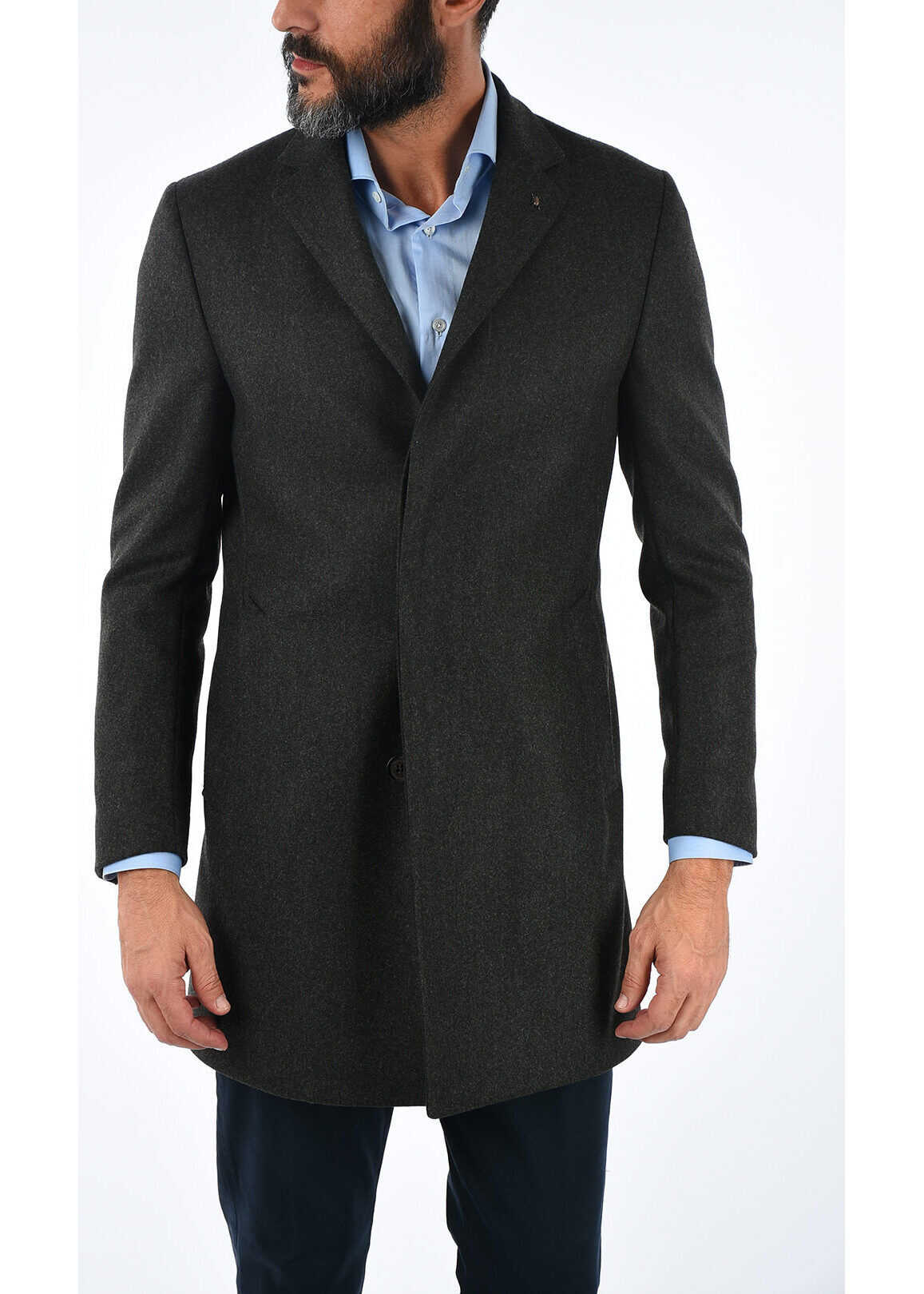 CORNELIANI CC COLLECTION twill chesterfield coat with hidden closure GRAY