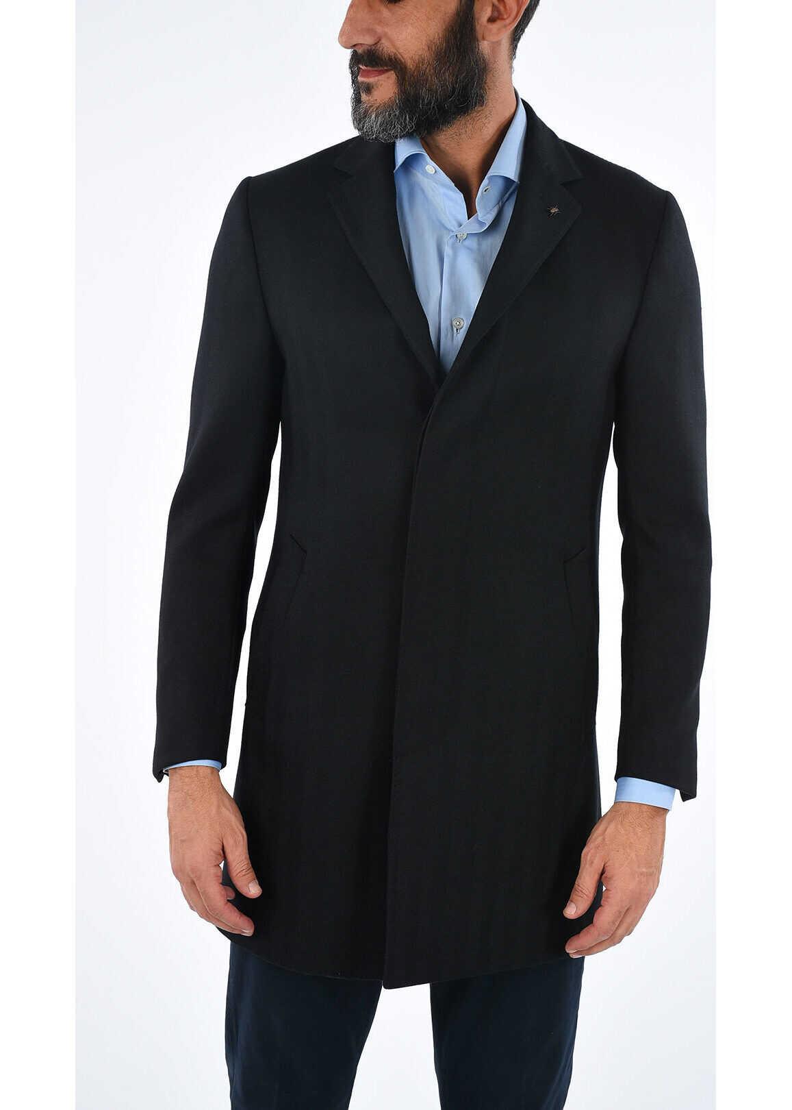 CORNELIANI CC COLLECTION tweed chesterfield coat with hidden closure BLACK