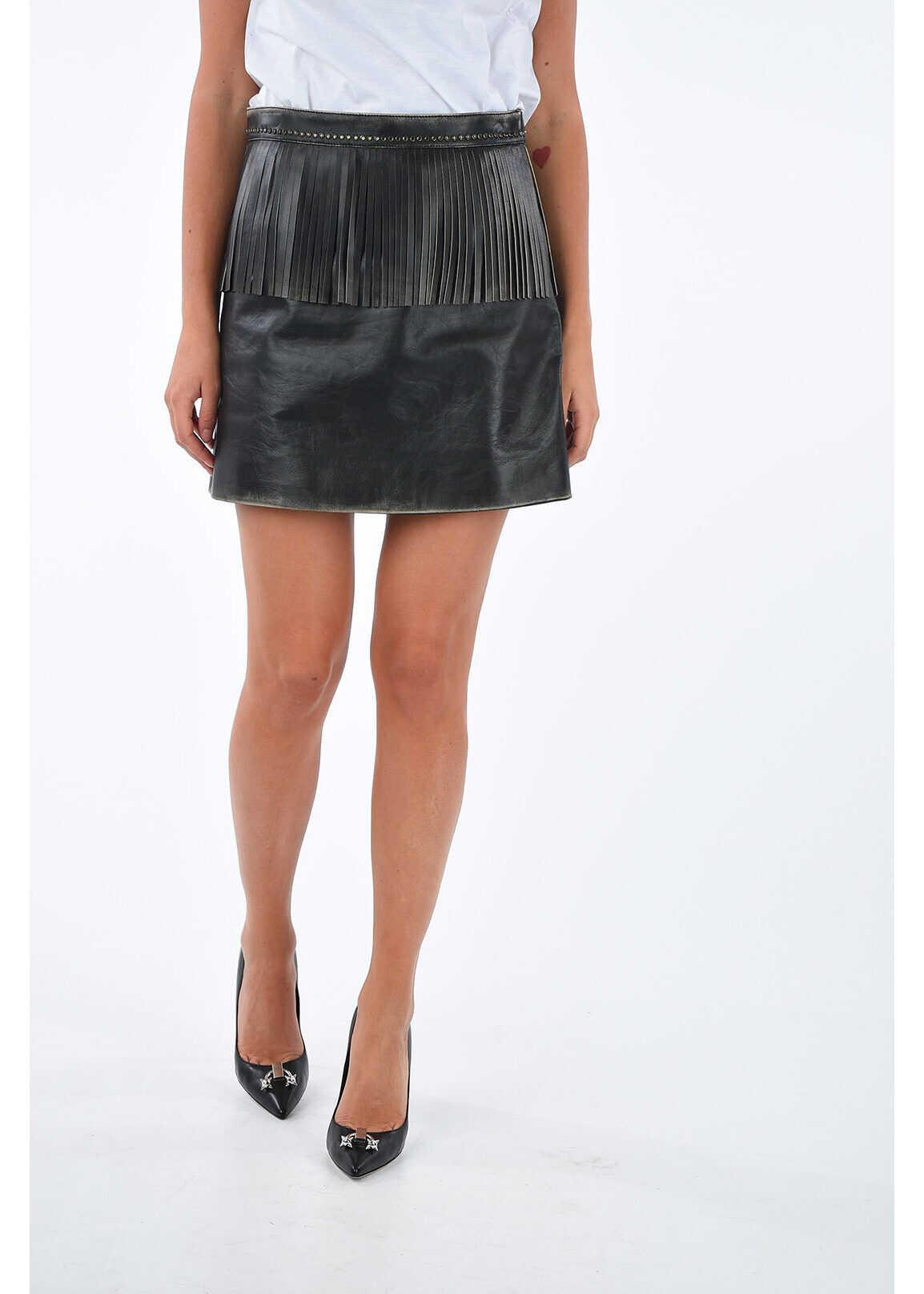 Leather Skirt with Fringe thumbnail