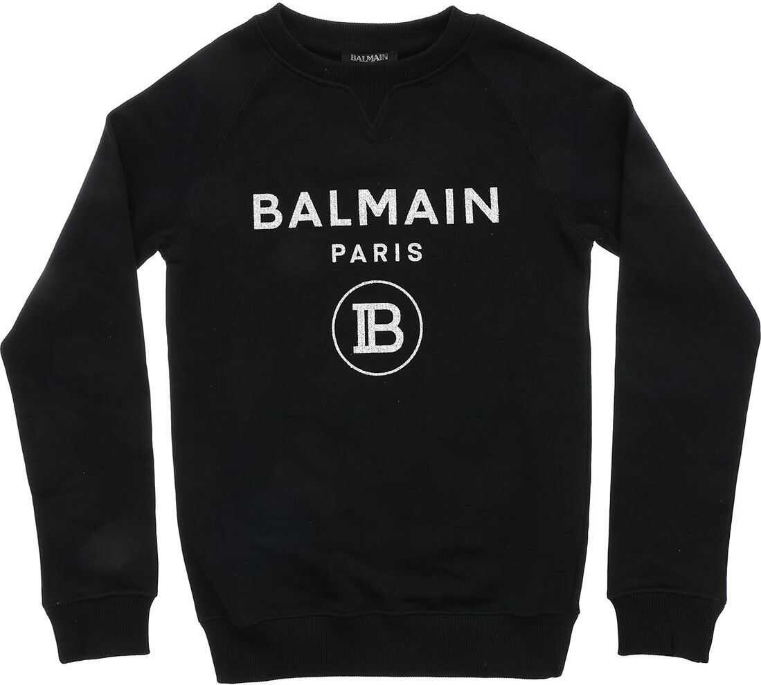 Black Sweatshirt With Glitter Logo Print thumbnail