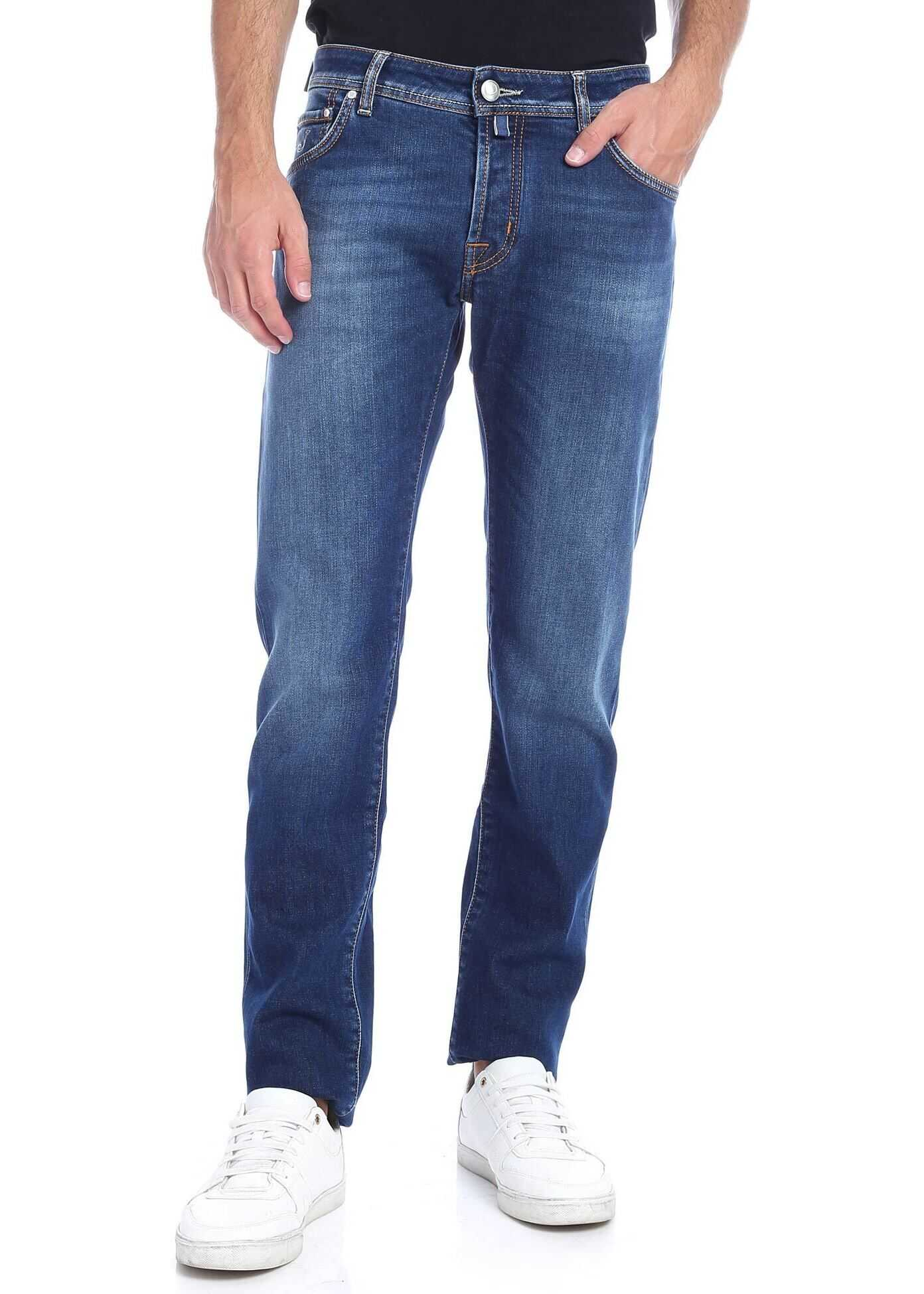 Jeans With Logo In Natural Indigo Wash thumbnail