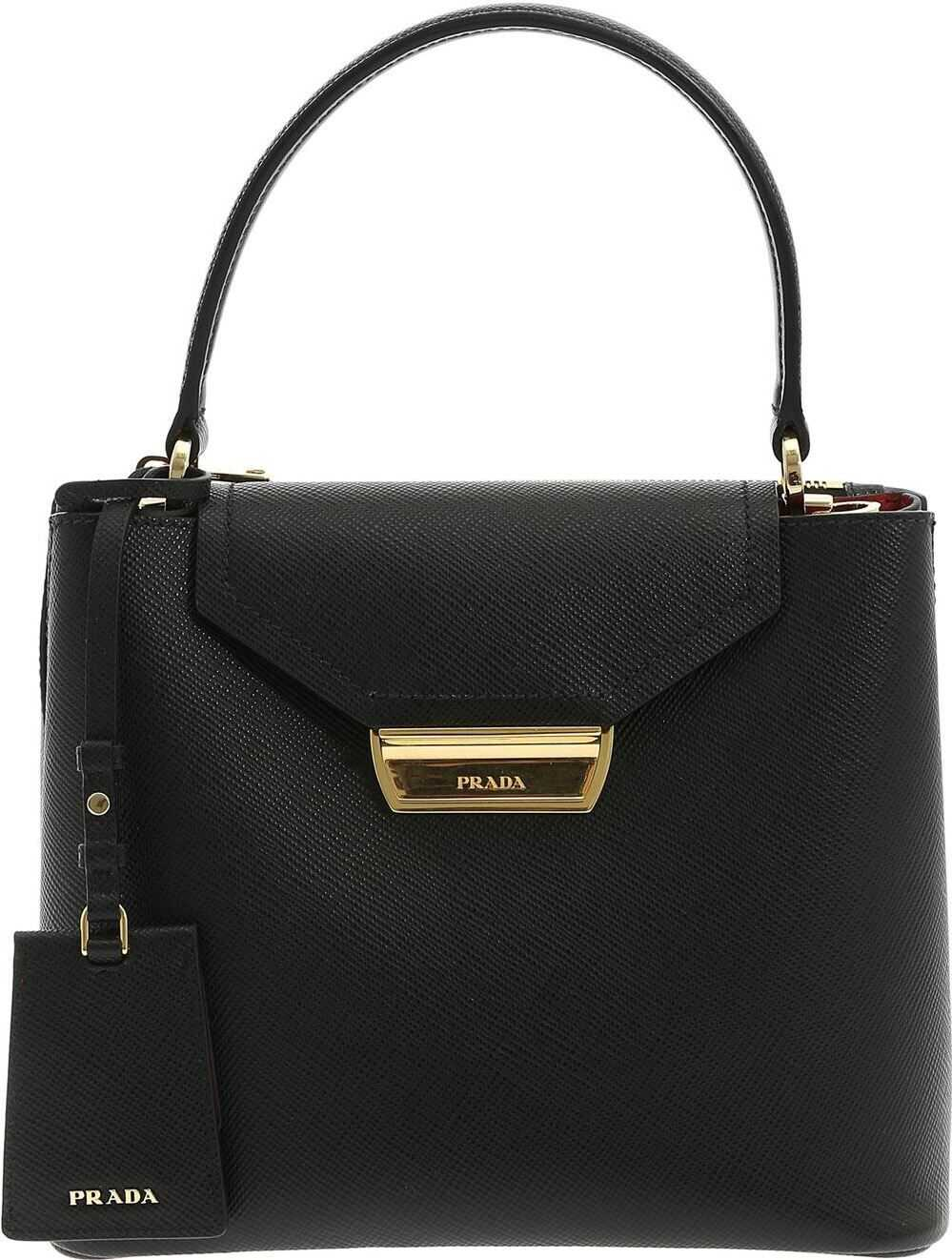 Logo Leather Handbag In Black thumbnail