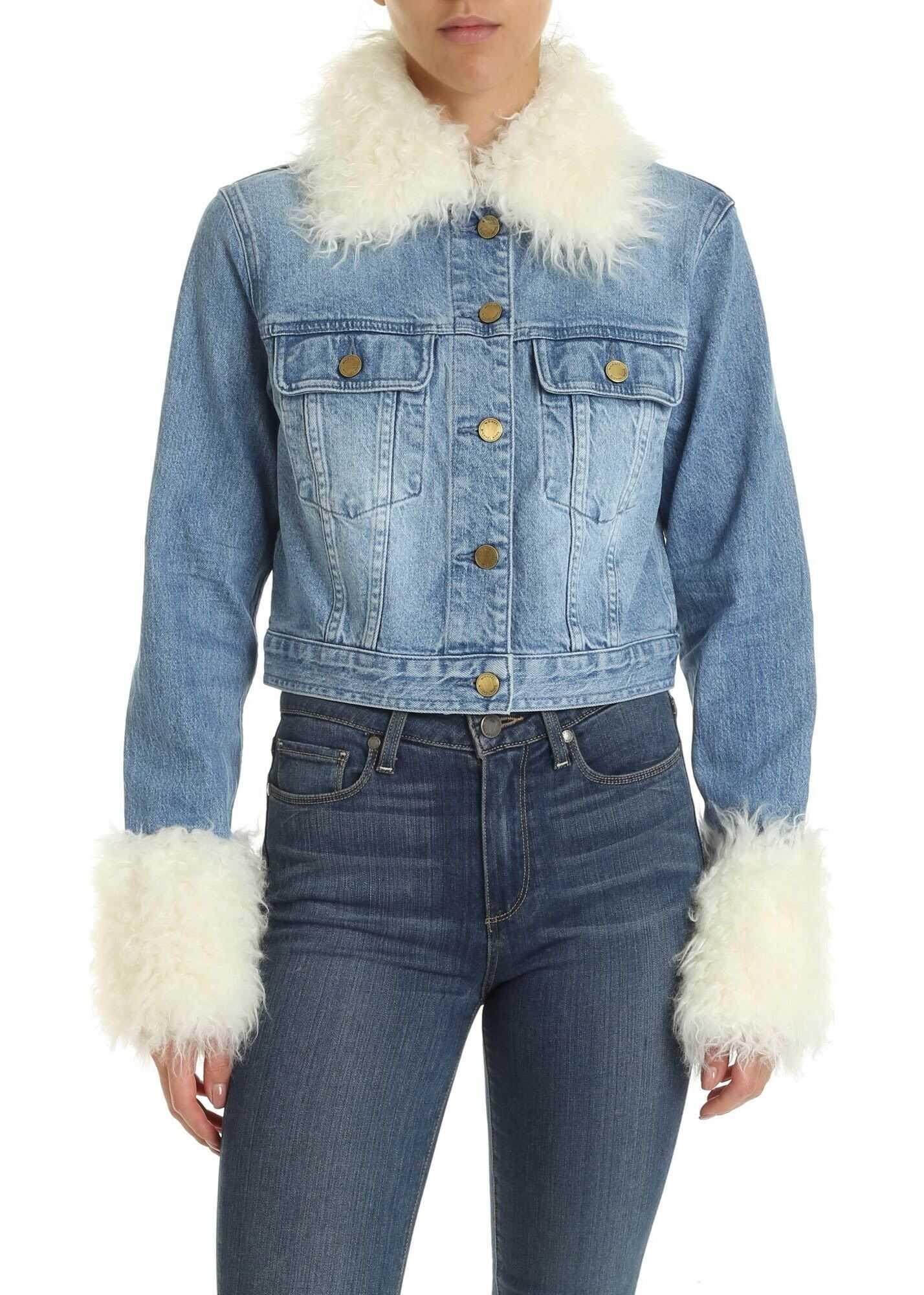 Michael Kors Light Blue Jacket With Eco-Fur Details Light Blue
