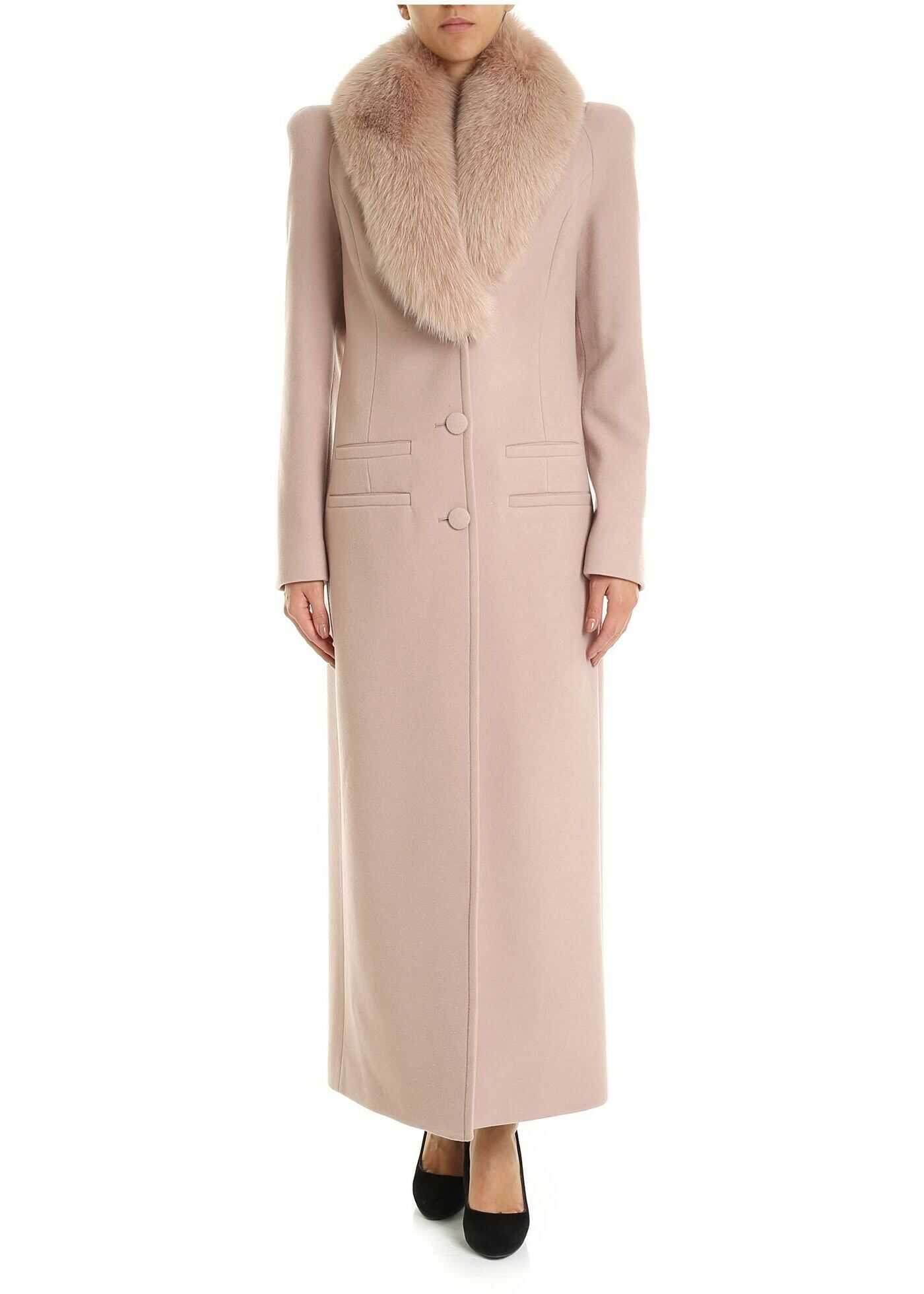 Fur Collar Coat In Pink thumbnail