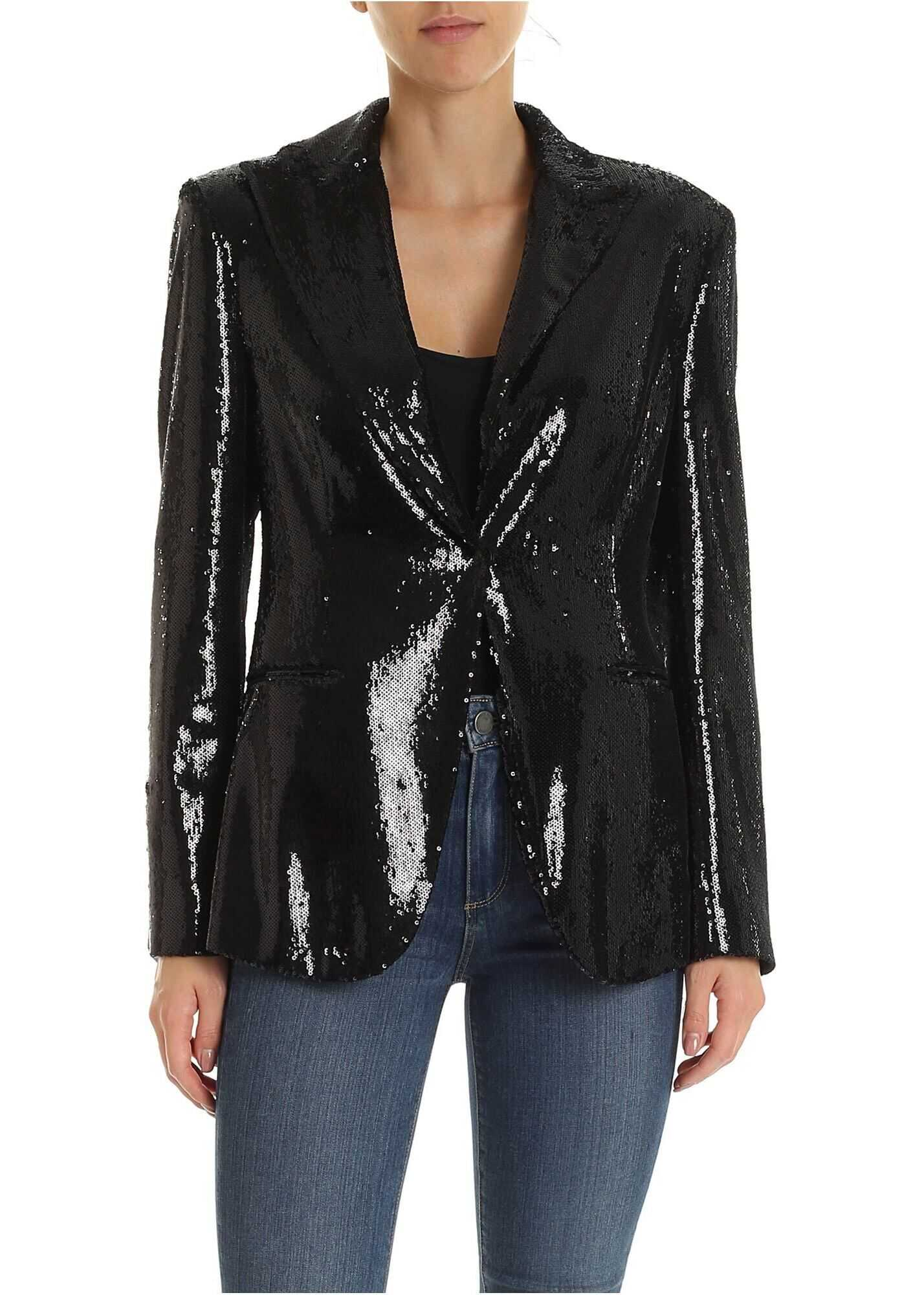 Sequined Single-Breasted Jacket In Black thumbnail