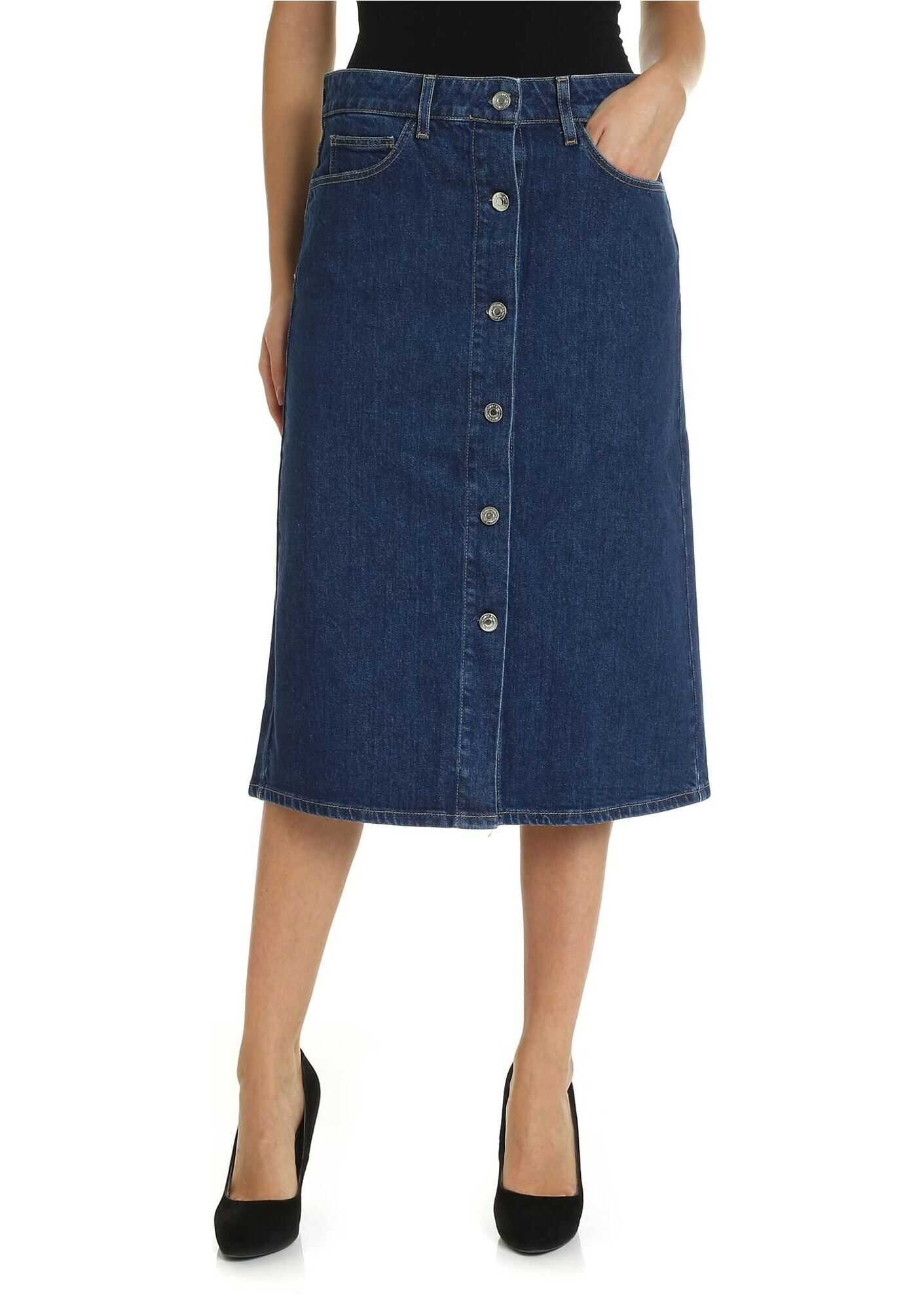 Calvin Klein 5-Pocket Skirt In Blue Denim Blue