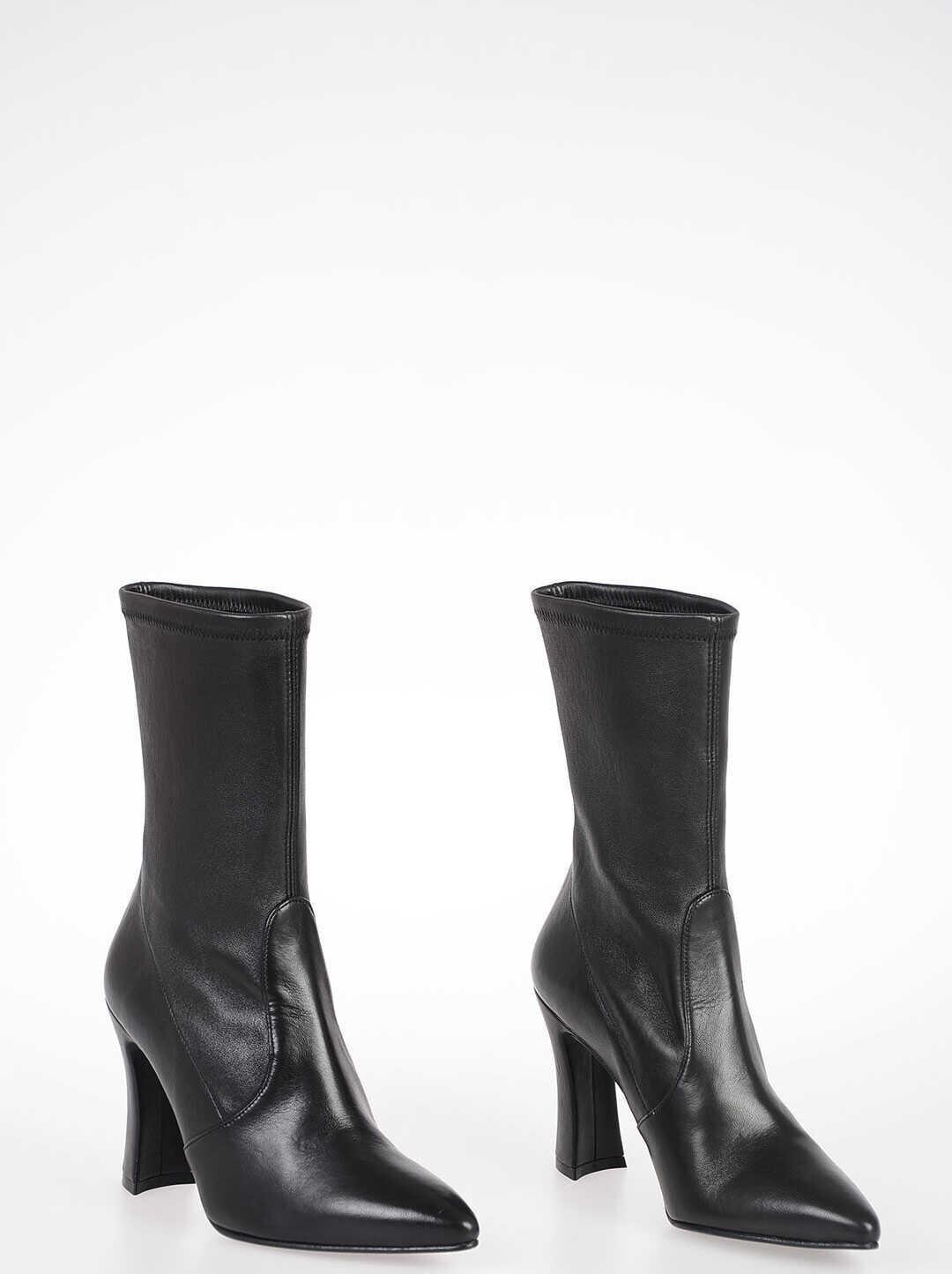 Stuart Weitzman 10cm Nappa CLINGERSWOOP Boots BLACK