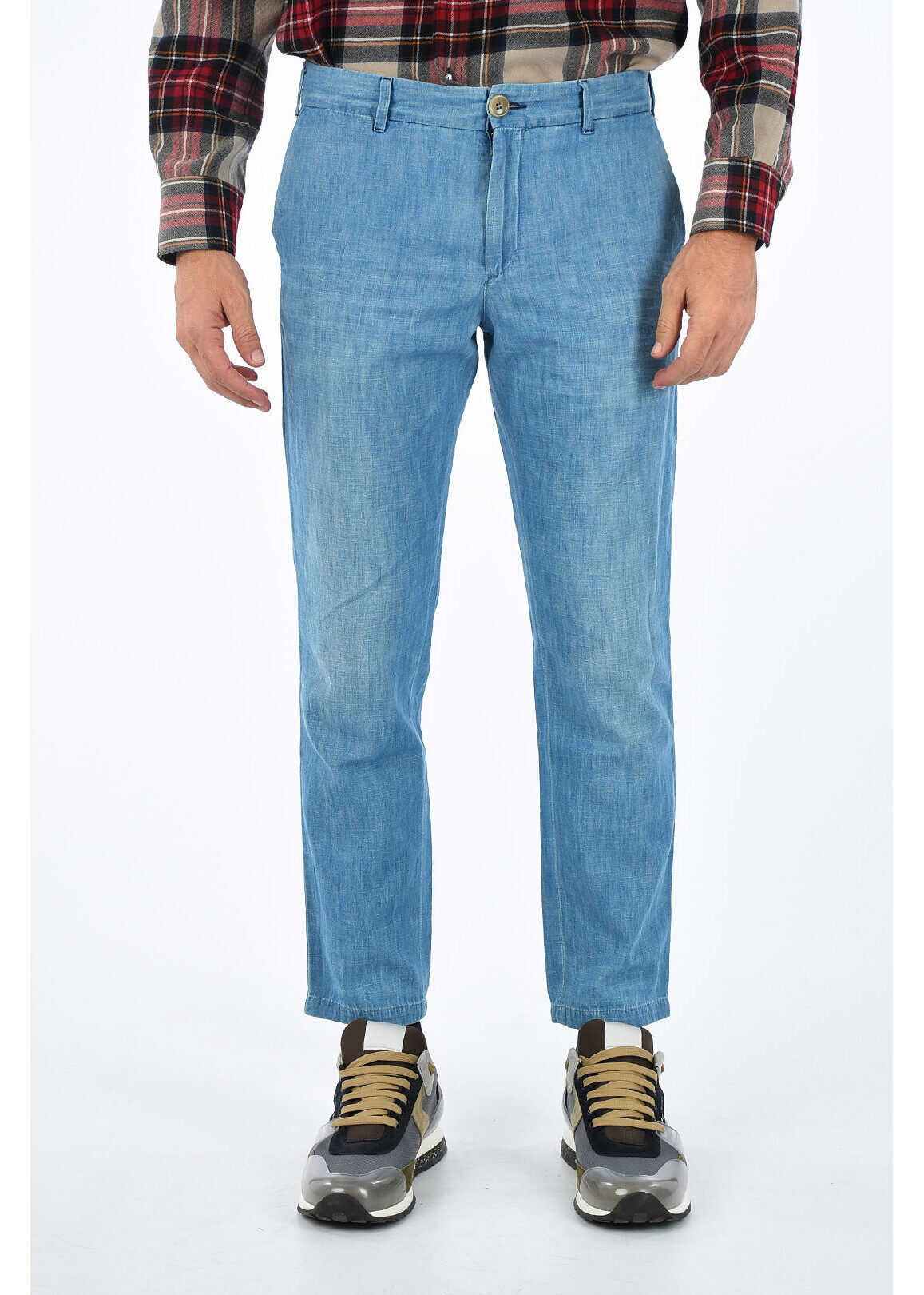 Gucci Tapered Jeans AMOUR with Embroidered Logo 16 cm BLUE