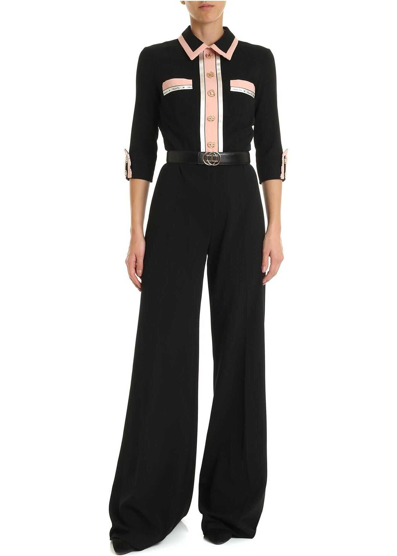 Elisabetta Franchi Black And Pink Jumpsuit With Belt Black