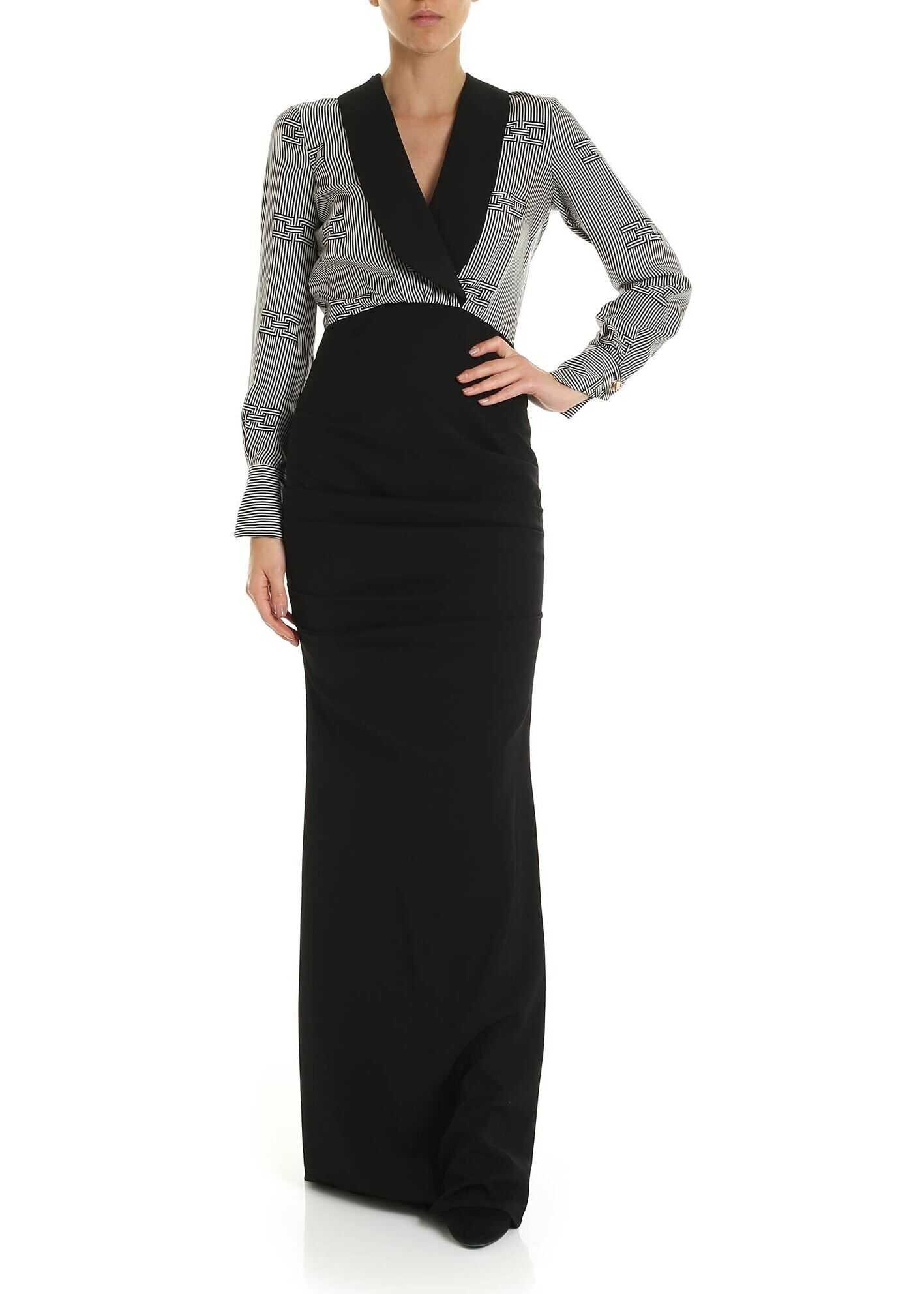Elisabetta Franchi Long Dress With Rear Bow Black
