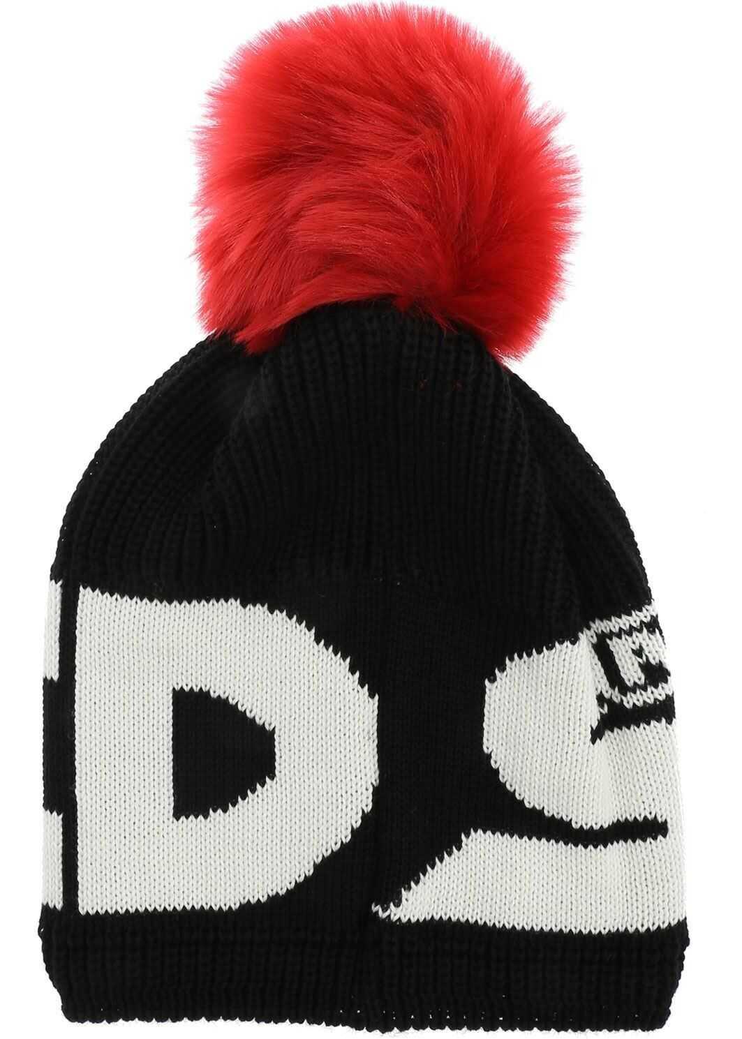 GCDS Knit Hat With Black Pom Pon In Black Black