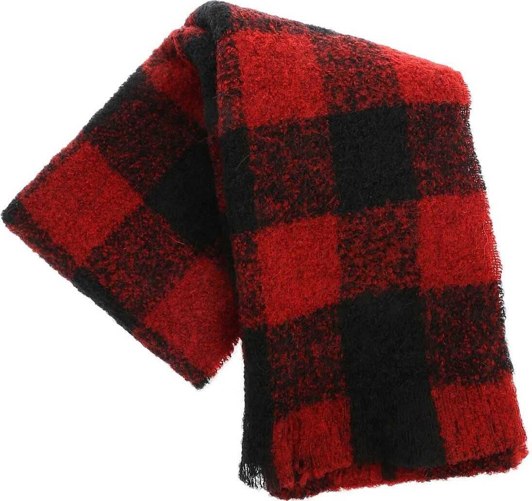 Red And Black Bouclé Scarf thumbnail