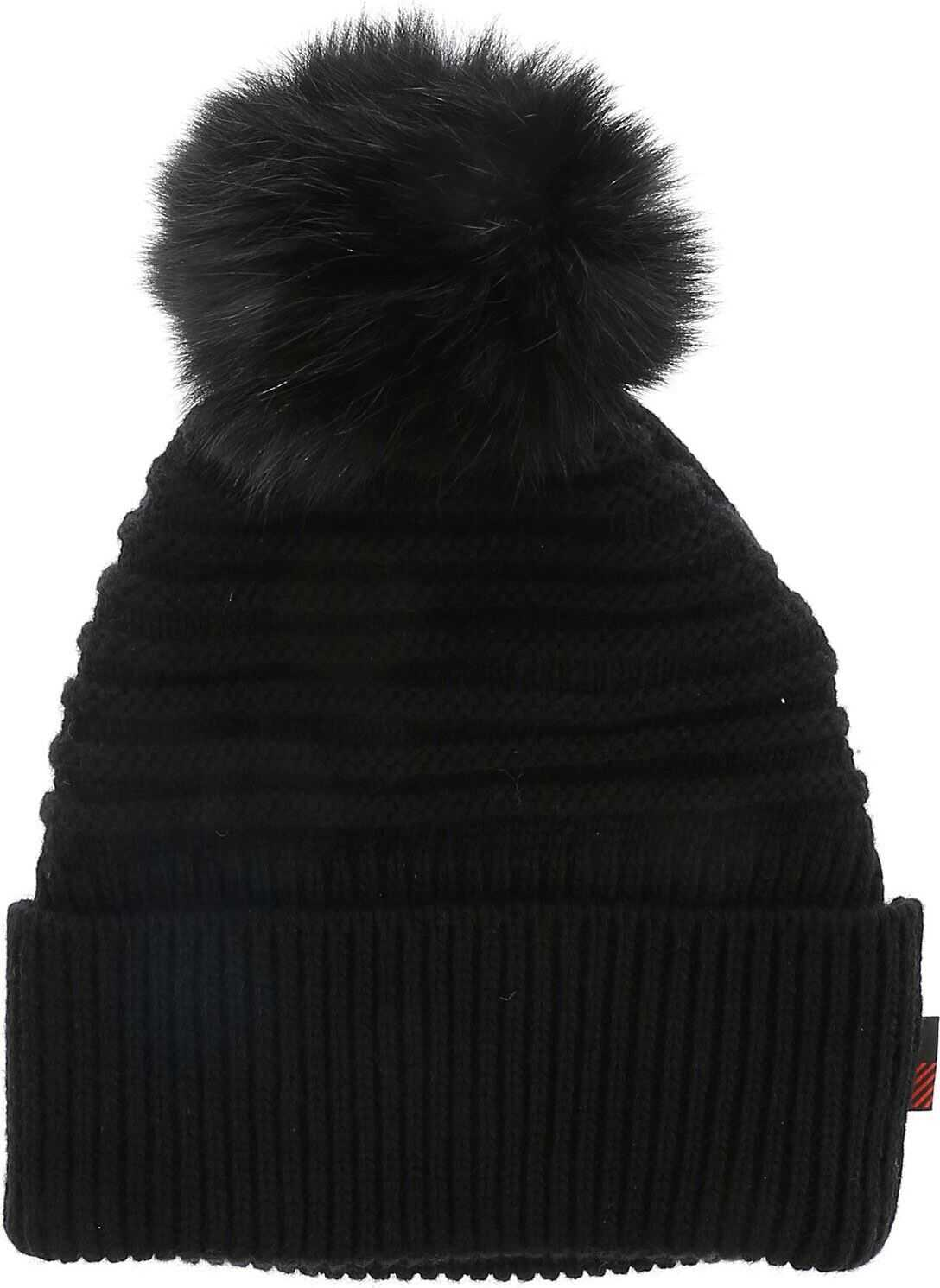 Black Beanie With Fur Pom Pon thumbnail