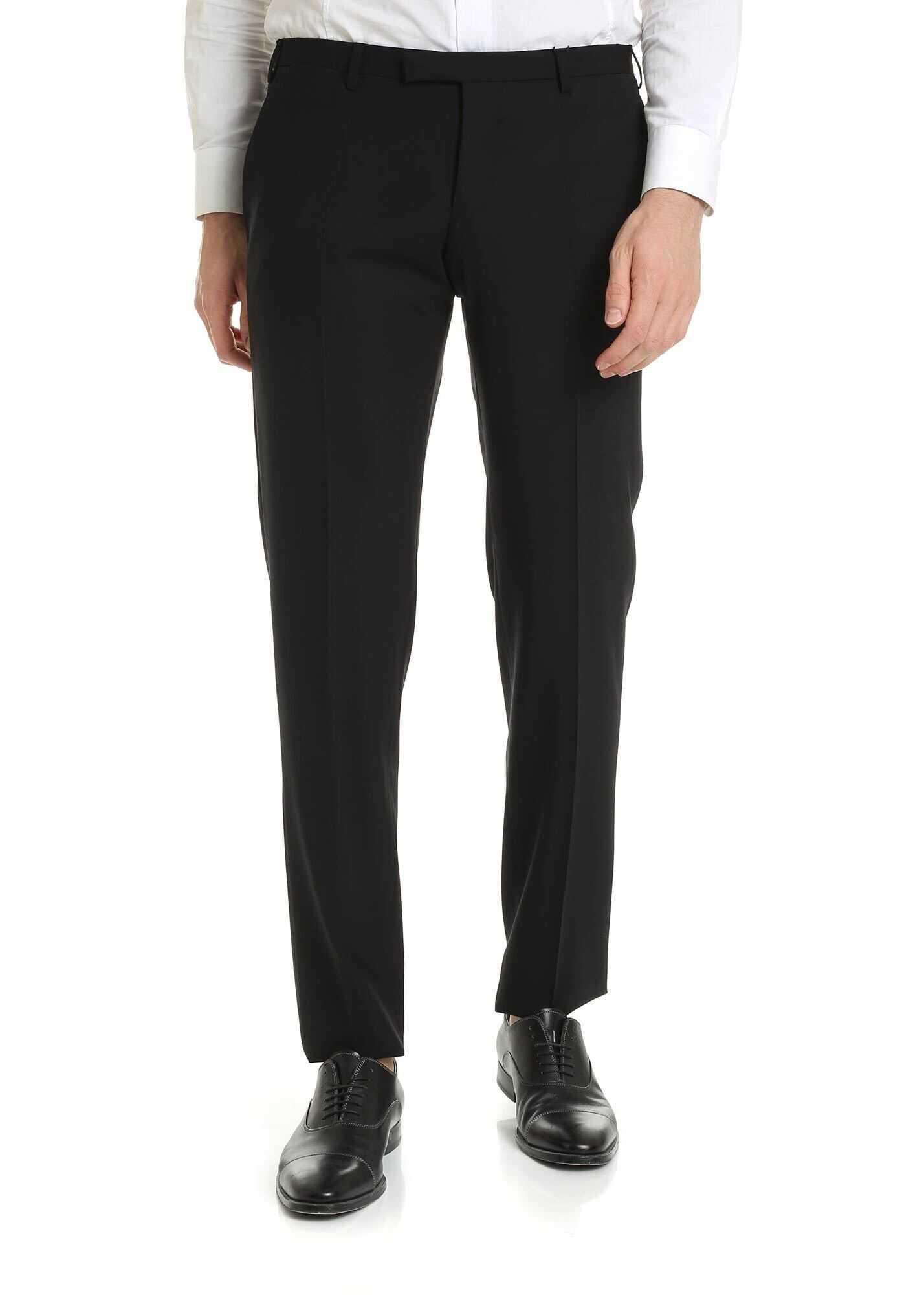 Emporio Armani Virgin Wool Trousers In Black Black imagine