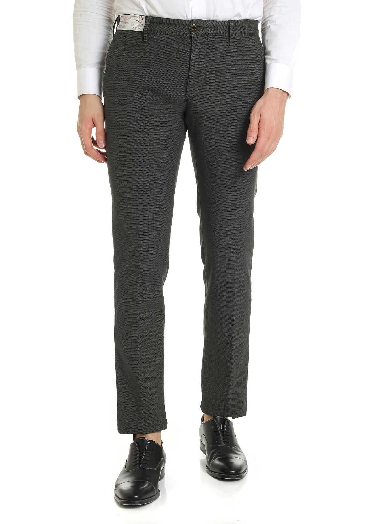 Incotex Slim Fit Trousers In Green With Micro-Pattern Green imagine