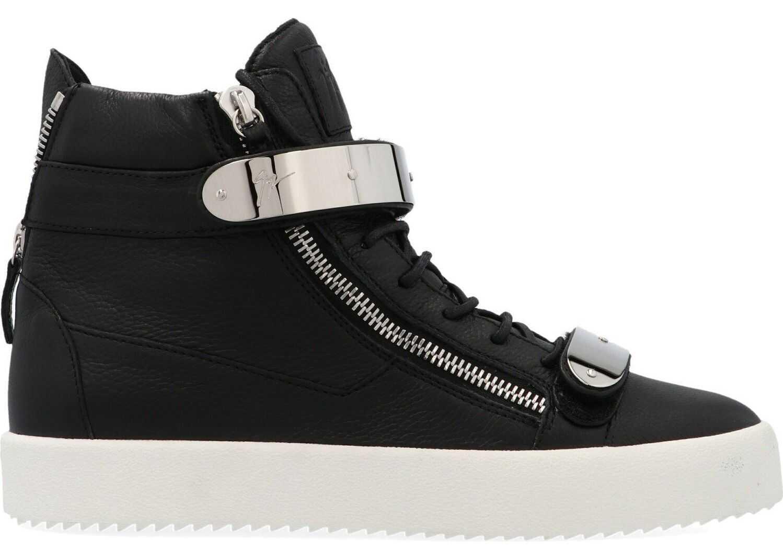 Giuseppe Zanotti Leather Hi Top Sneakers BLACK