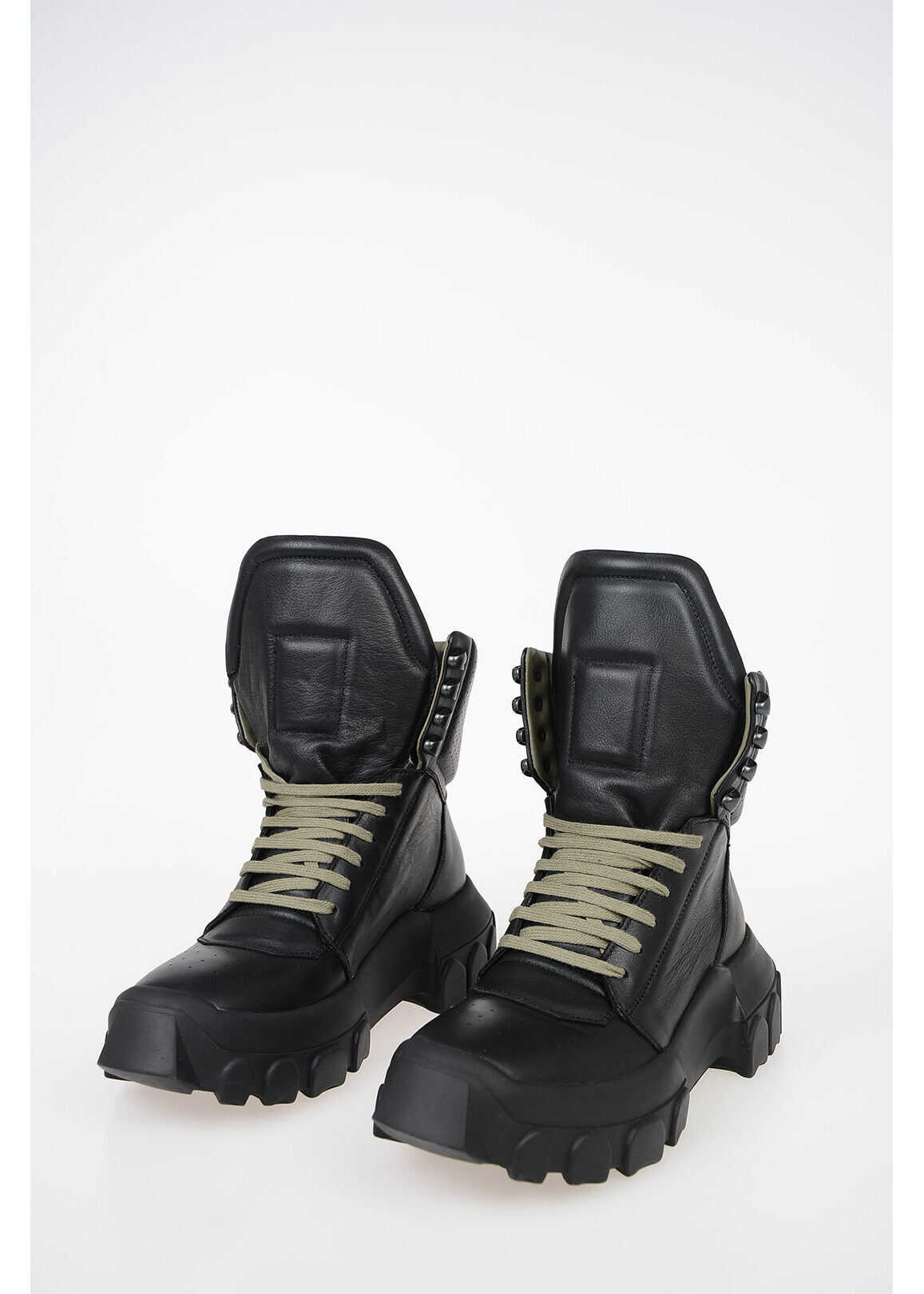 Rick Owens Leather HIKING Ankle Boots BLACK