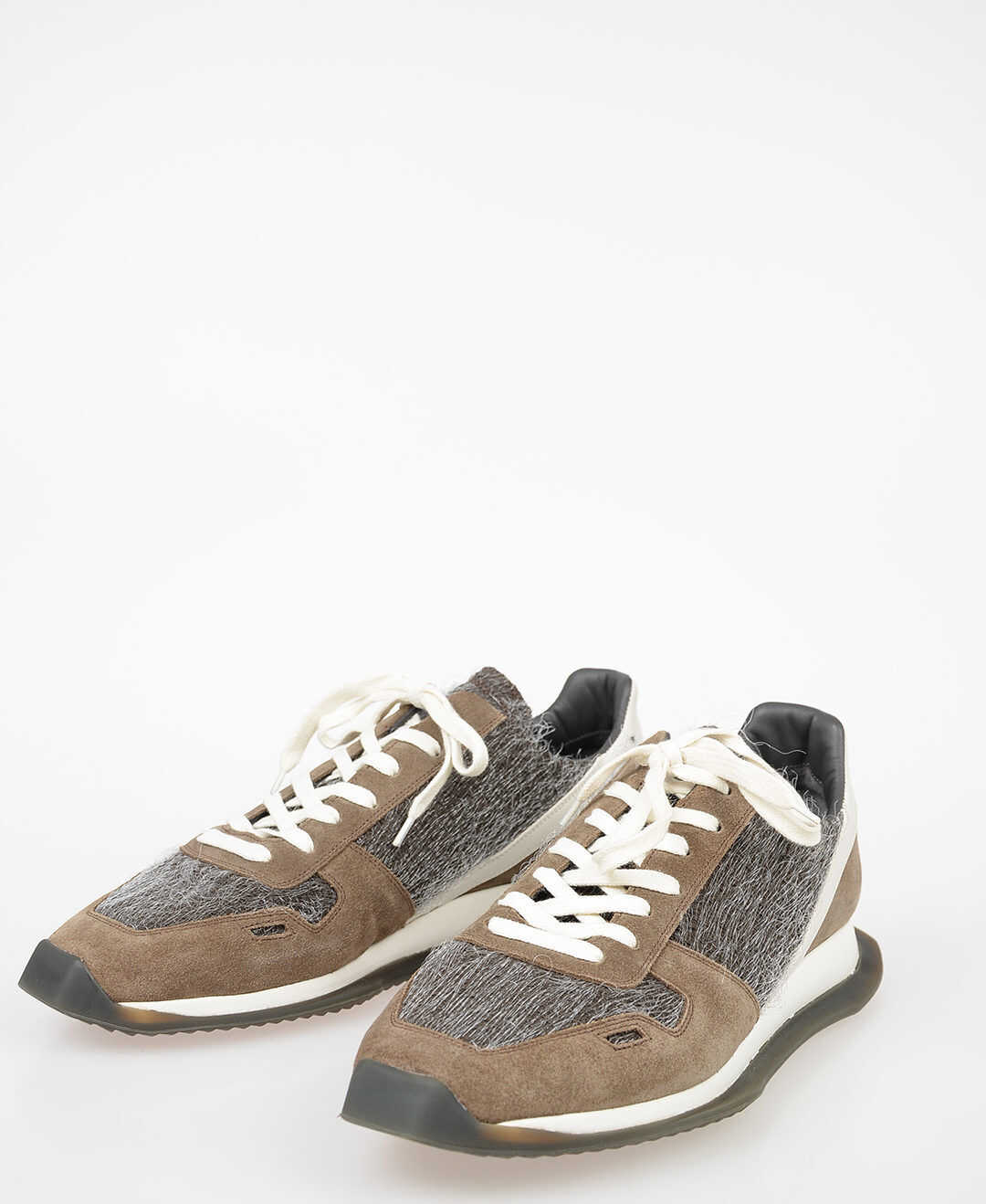 Rick Owens Fabric Leather RUNNER Sneakers DARKDUST/MILK/DARK WHITE