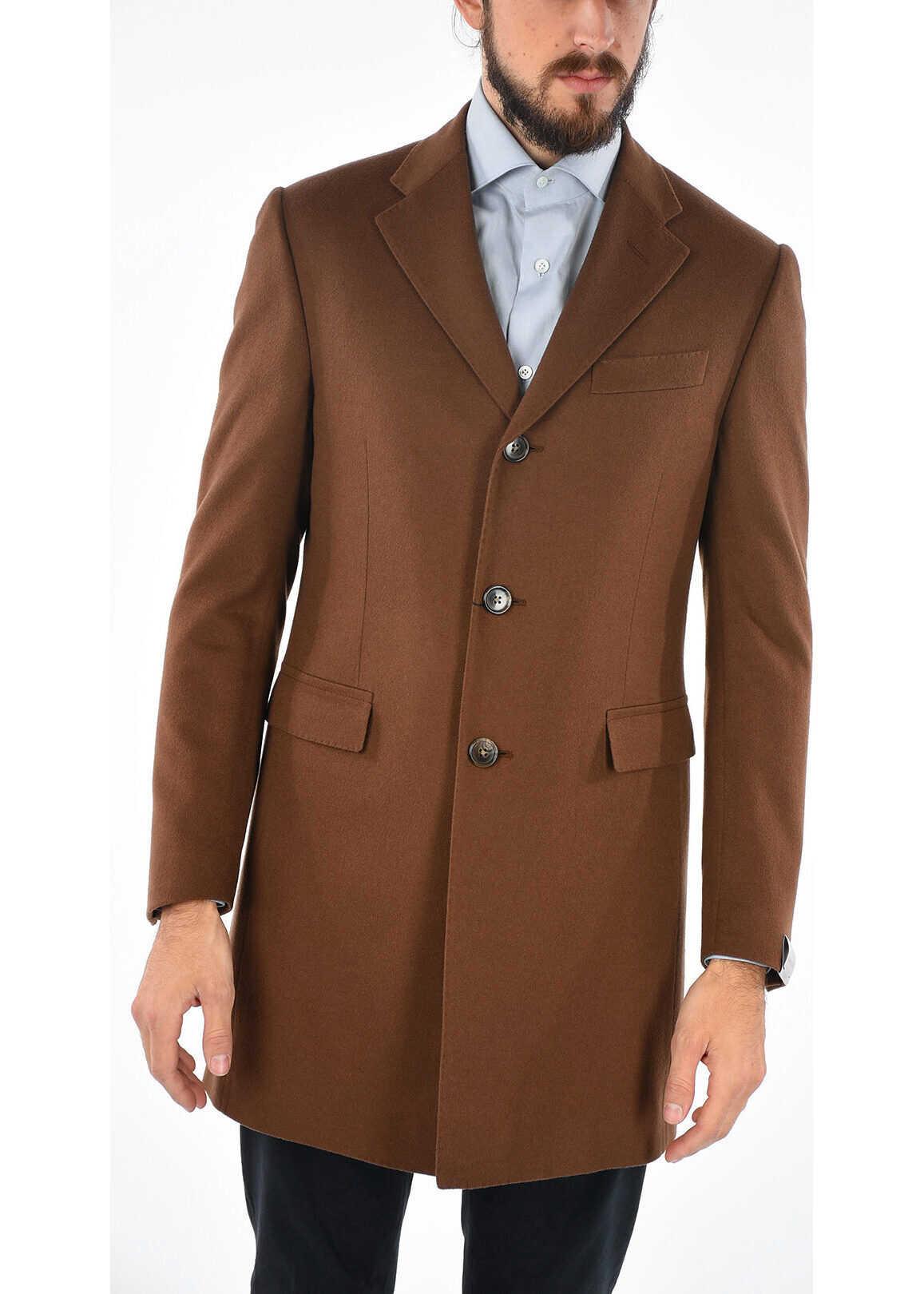 CORNELIANI 3 Button Chesterfield Coat BROWN
